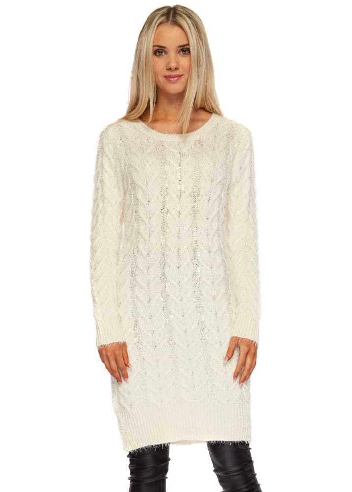 Cream Cable Knit Jumper Dress - Cream Oversized Slouch Jumper