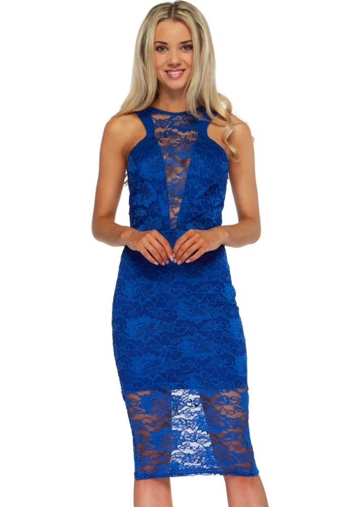 Honor Gold Lacey Midi Dress Blue Lace Pencil Dress