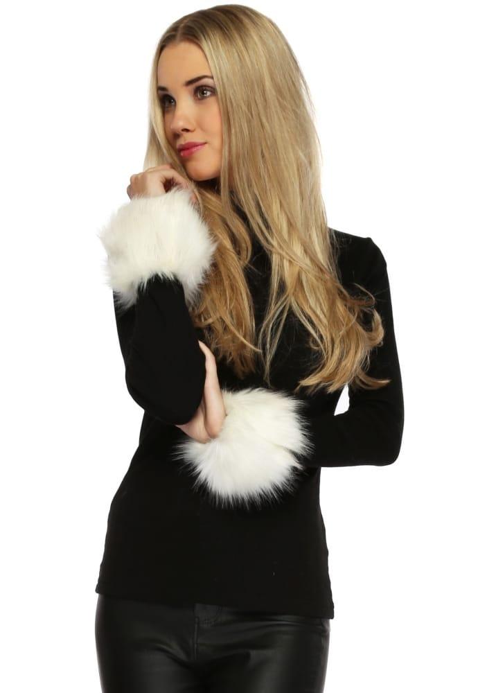Thick Fluffy Winter White Faux Fur Cuffs Urban Mist