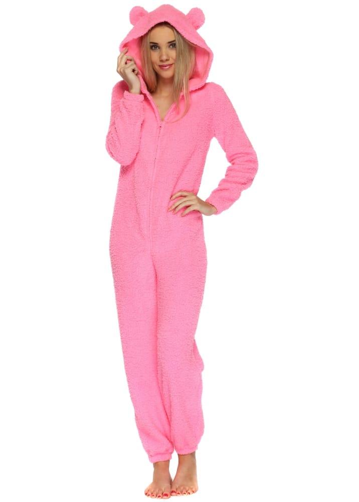 Women S Hot Pink Hooded Onesie Cheap Onesies