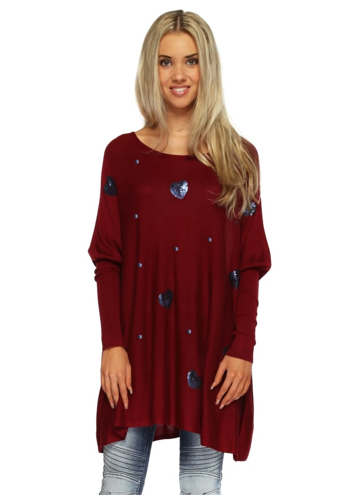 js millenium jumper blue sequin hearts on burgundy fine knit. Black Bedroom Furniture Sets. Home Design Ideas