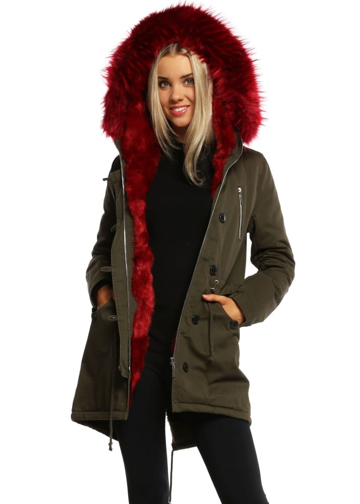 Women's Faux Fur Parka - Hooded Red Faux Fur Parka