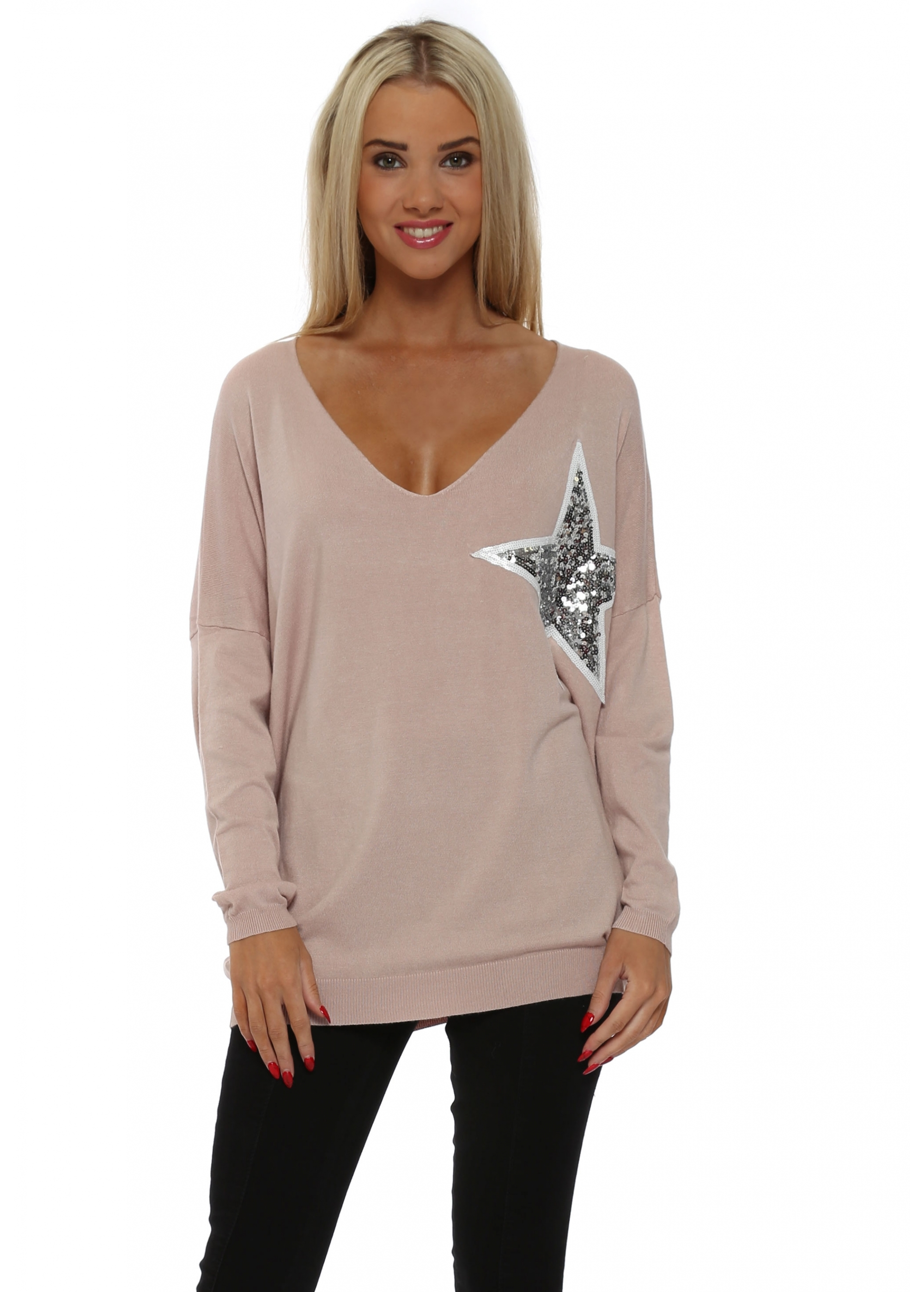 Women S Designer Baby Pink Jumper Sequin Star Jumper