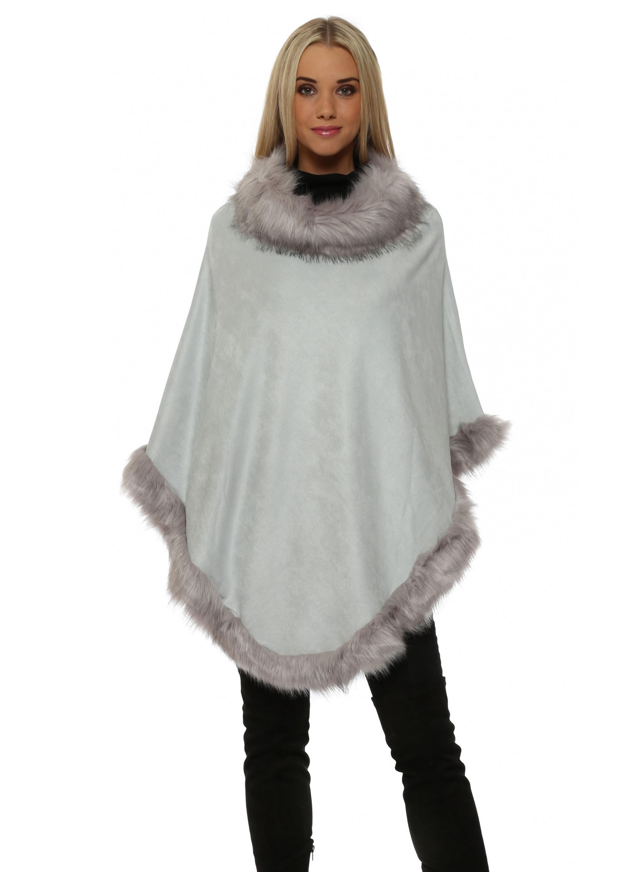 Jayley Faux Fur Poncho Grey Suede