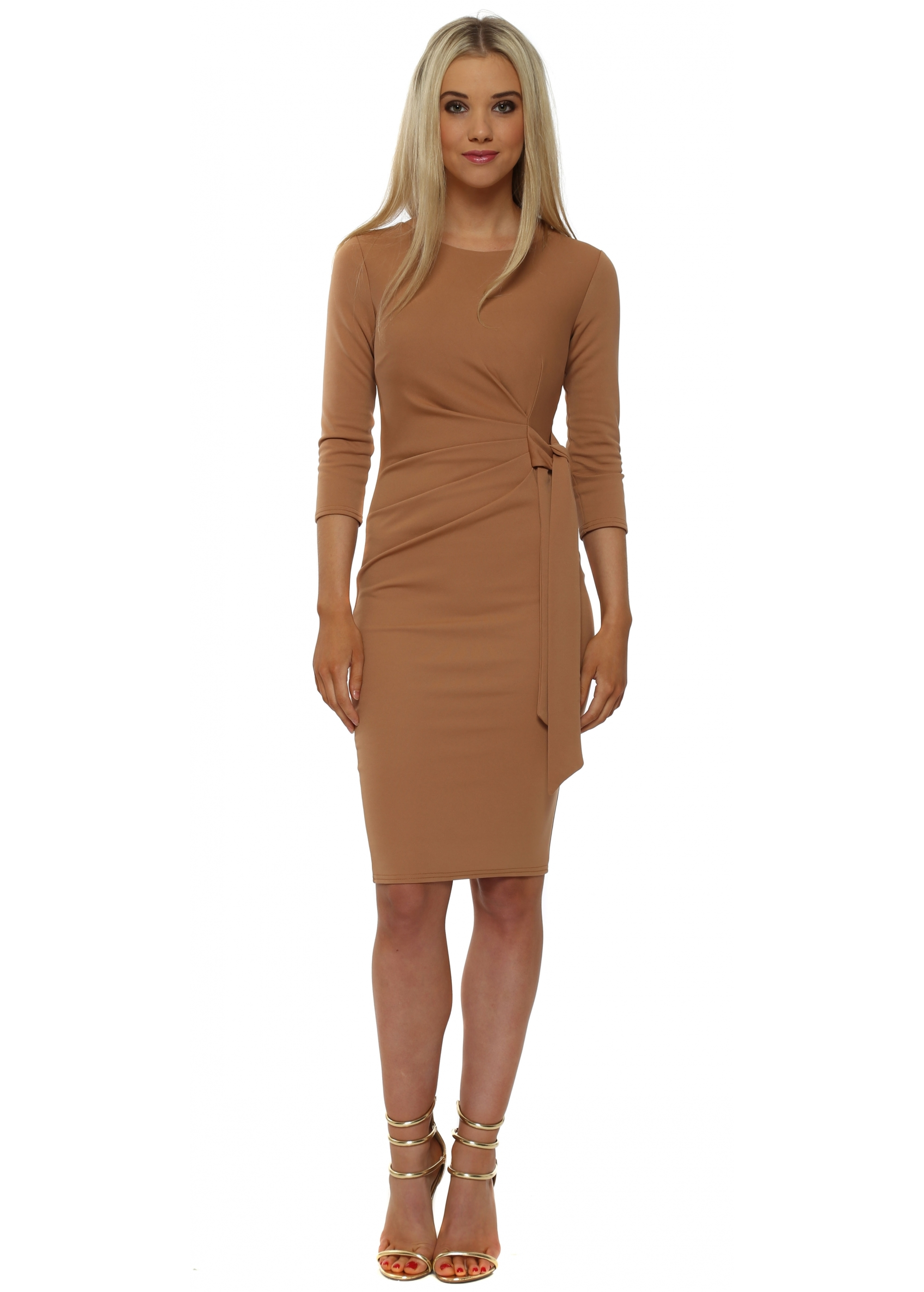 Goddess London Tan Pleated Tie Pencil Dress