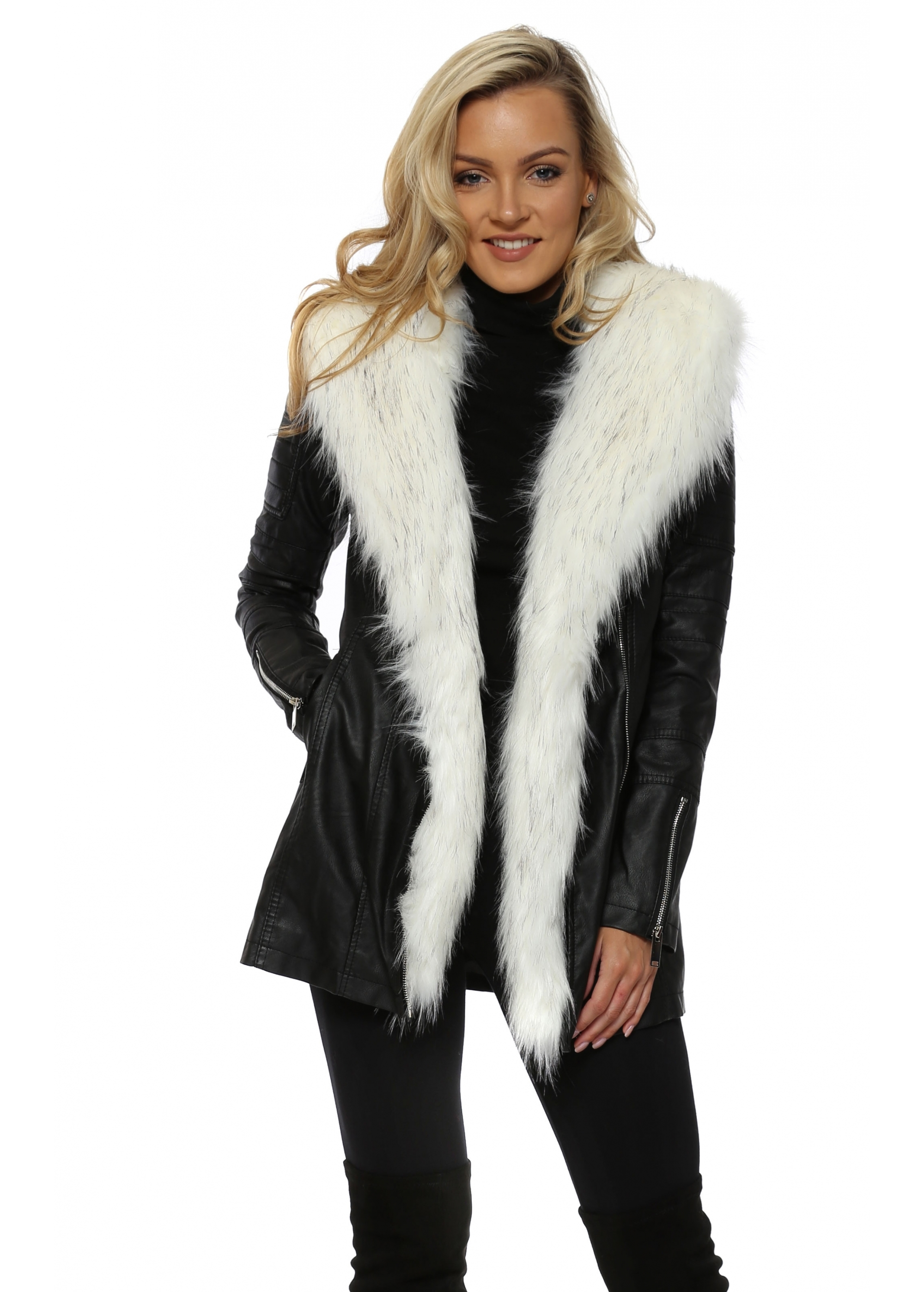 Black Faux Leather Coat With White Fur - Flamant Rose