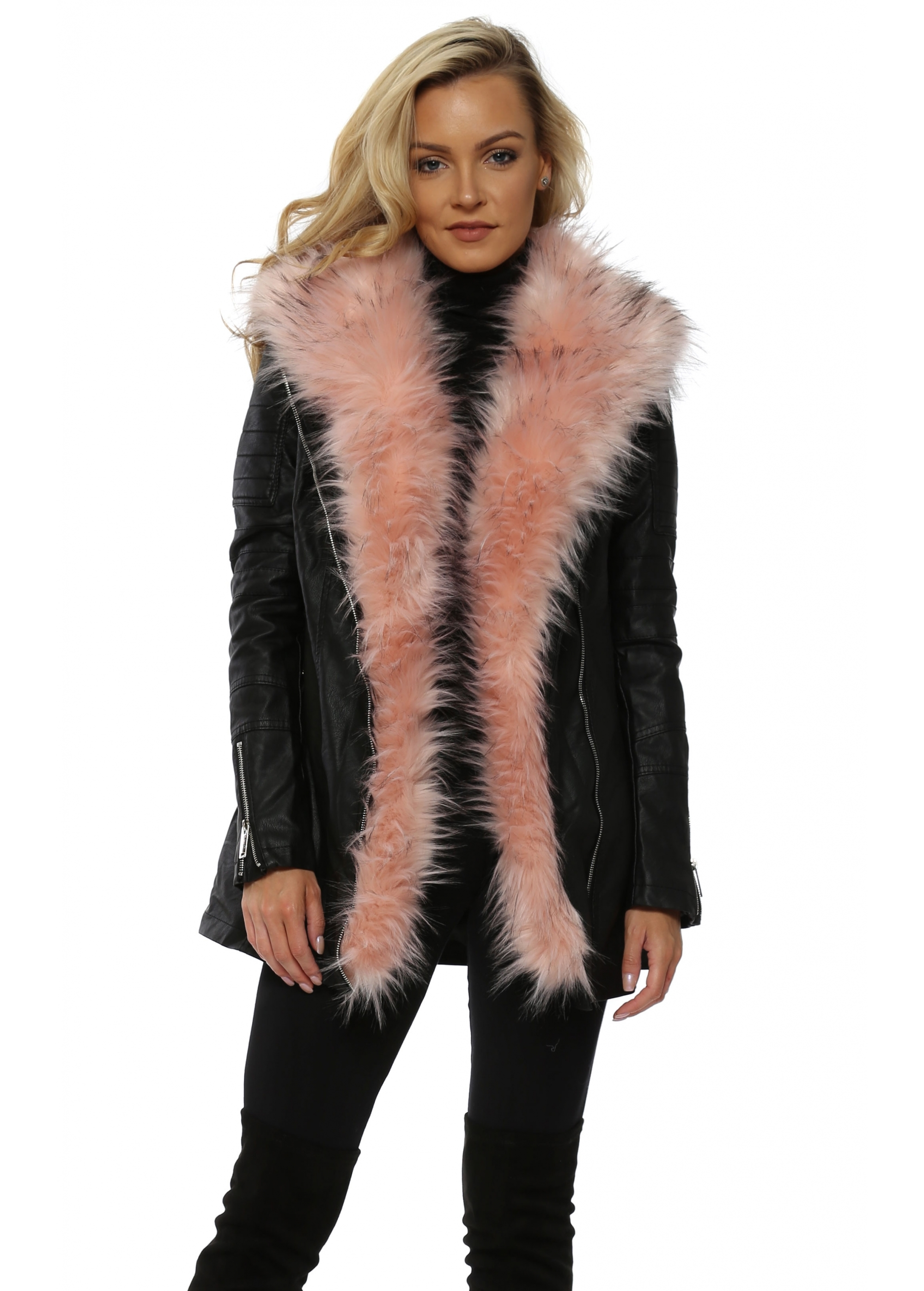Black Faux Leather Coat With Pink Fur - Flamant Rose