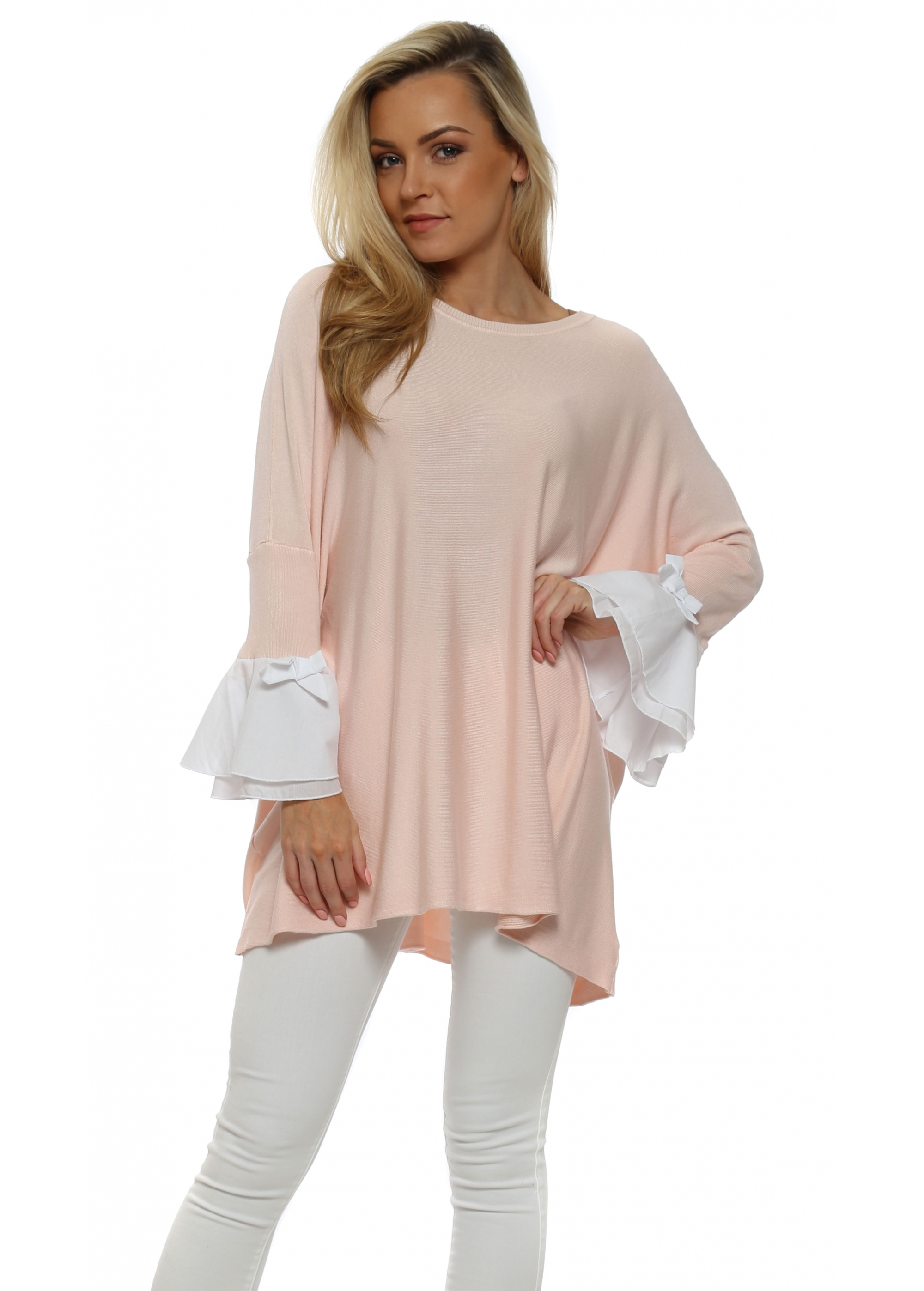 Oversized Baby Pink Jumper With White Cuffs