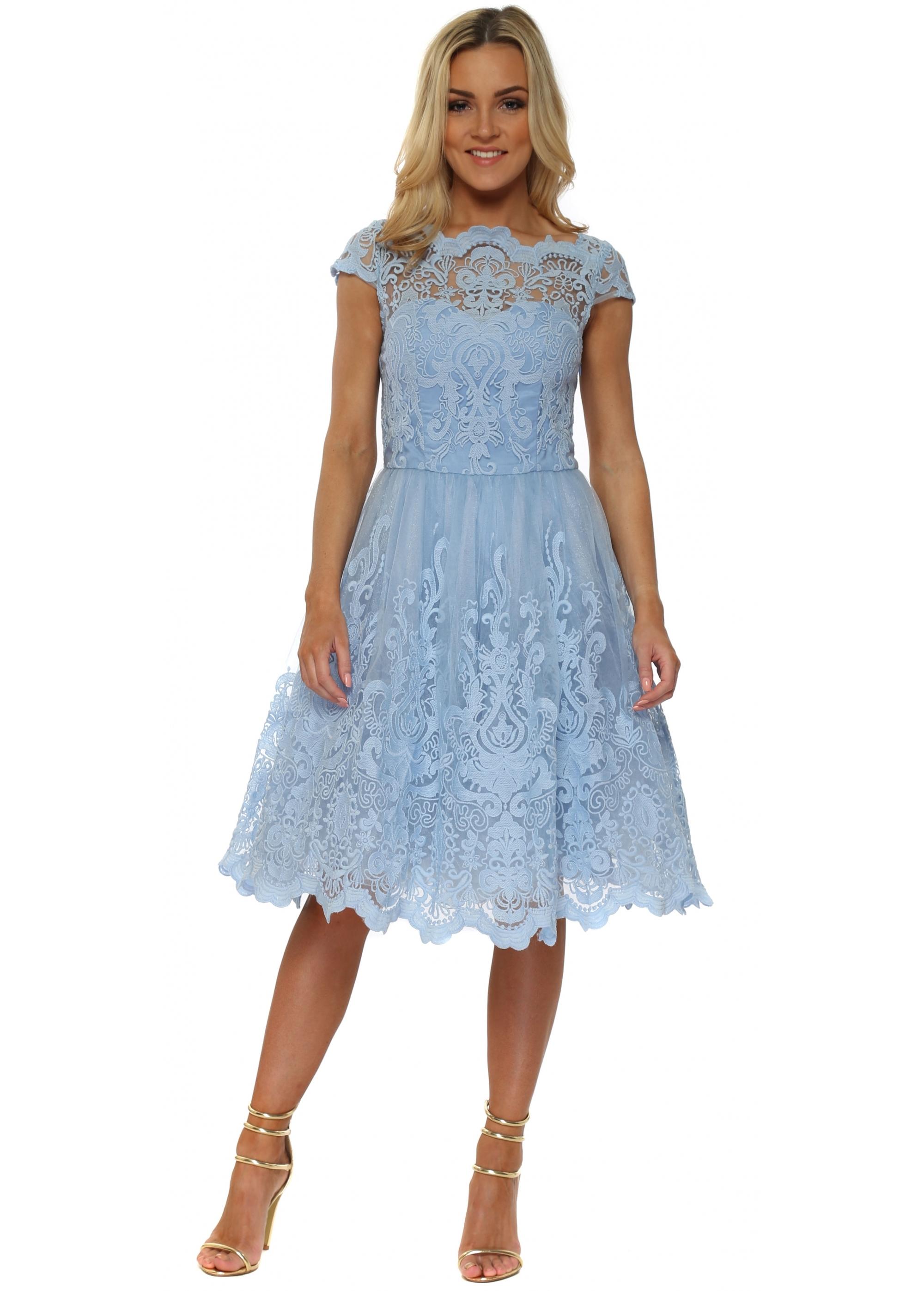Chi Chi Rhiannon Dress Blue Baroque Lace Tea Dress