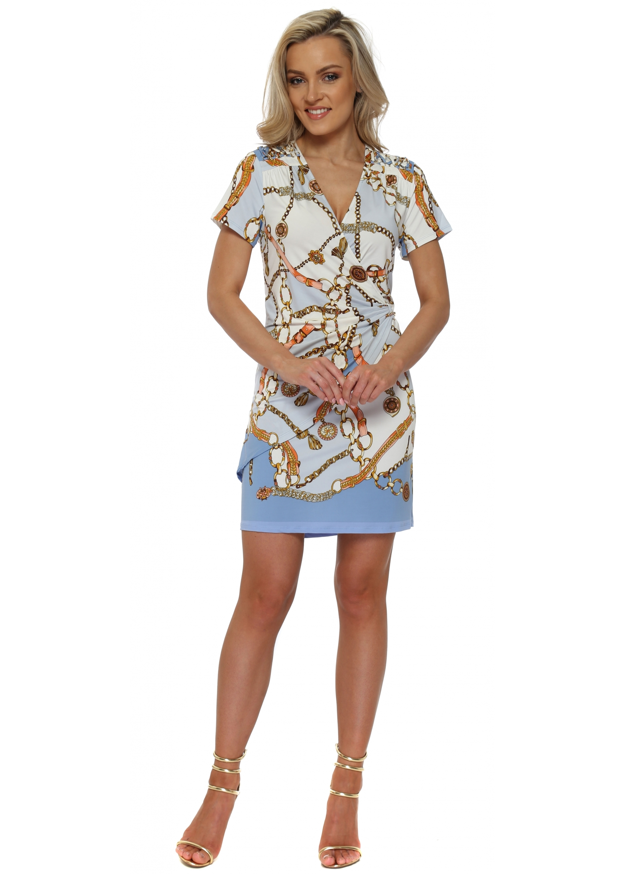 K Design Dress J864 Gold Chain Print