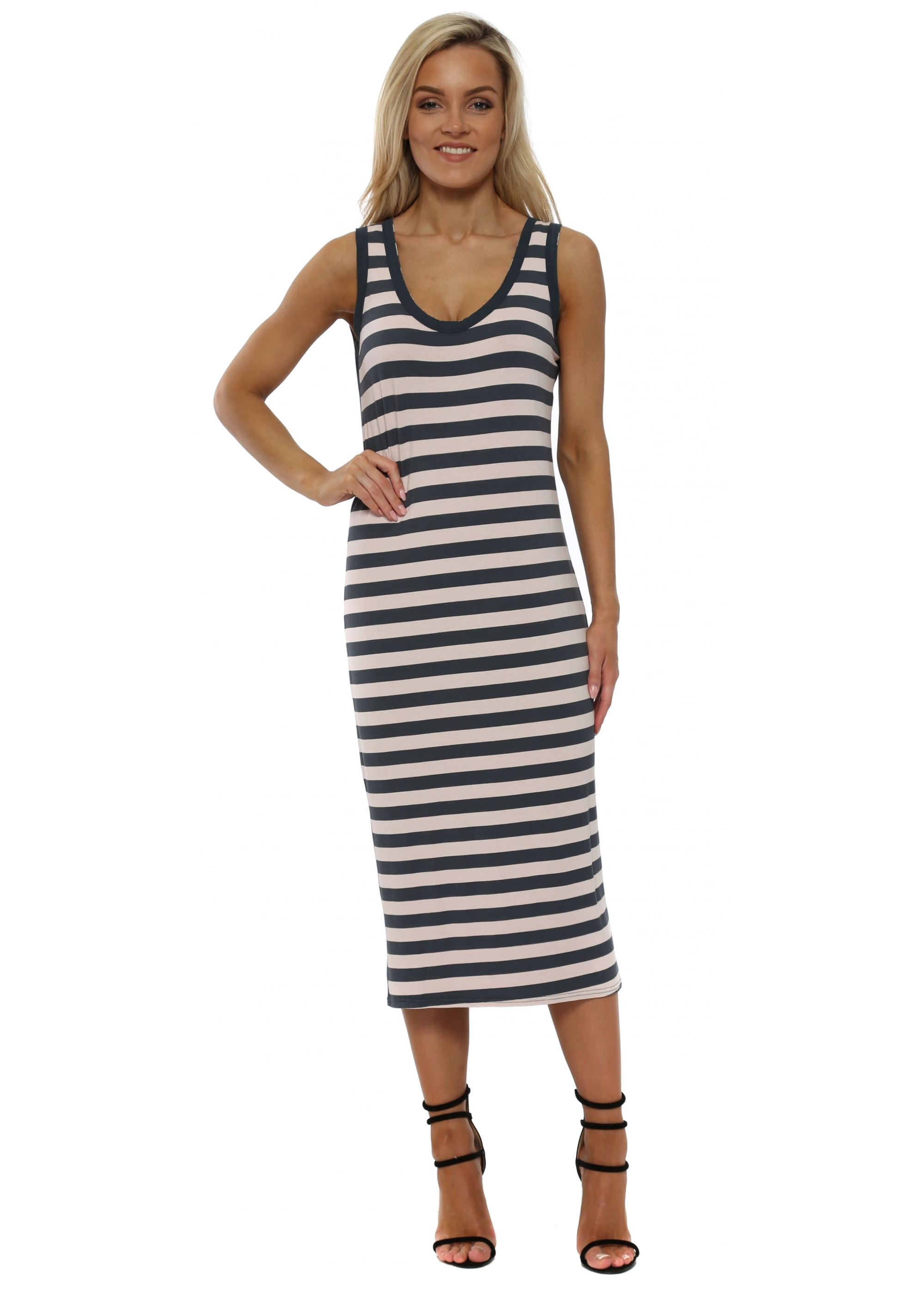 a postcard from brighton pink stripe midi dress