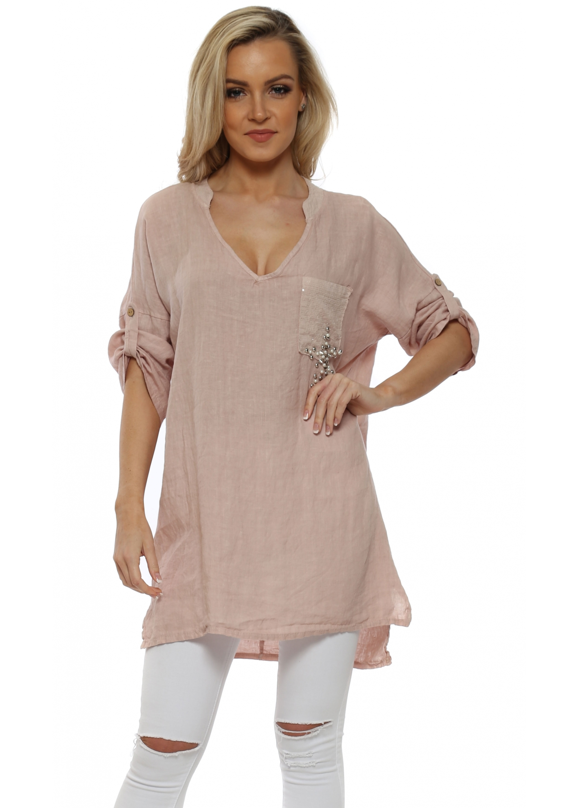 Made in italy pink linen sequinned tunic top for Shirts made in italy