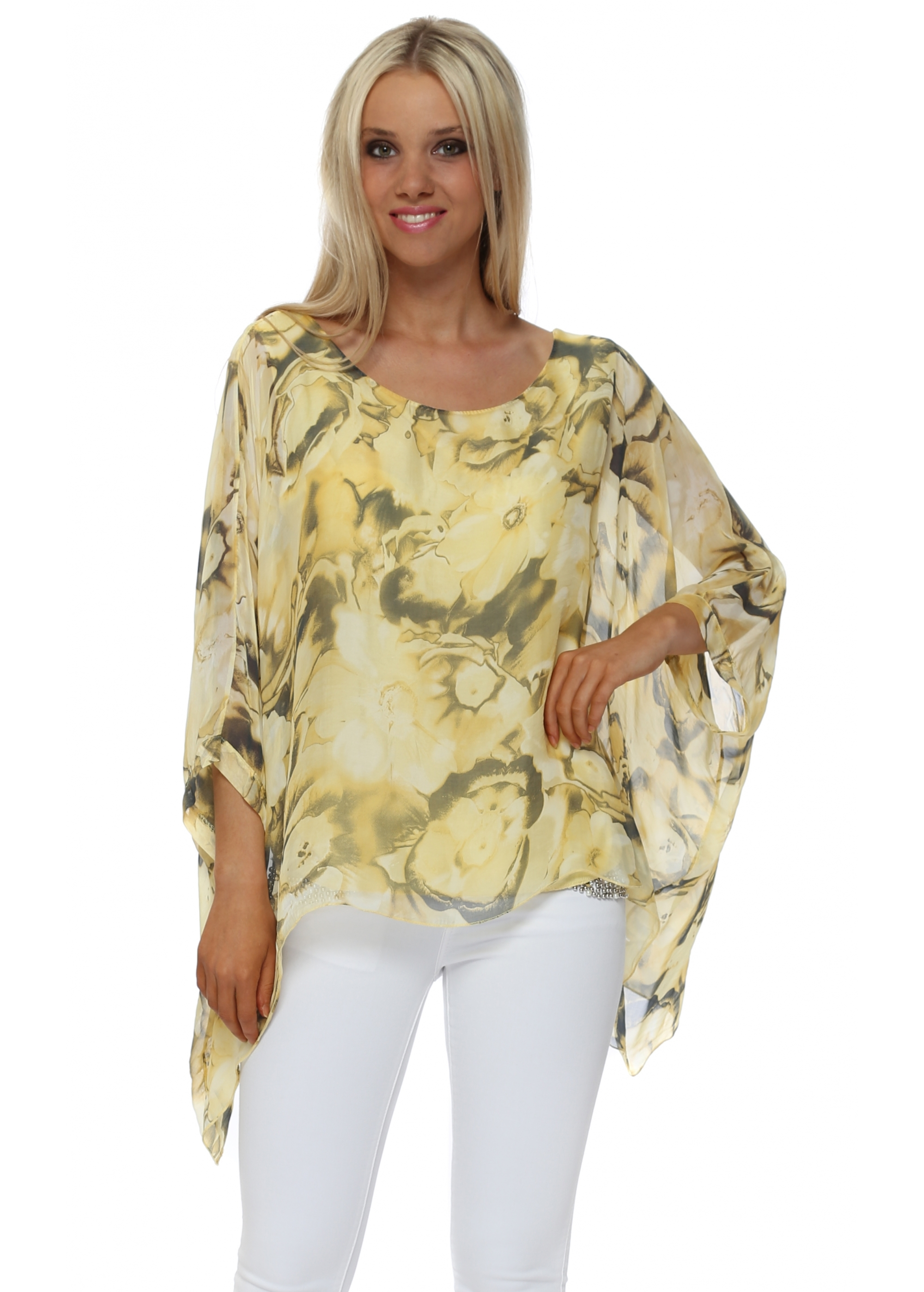 Made In Italy Yellow Rose Silk Top