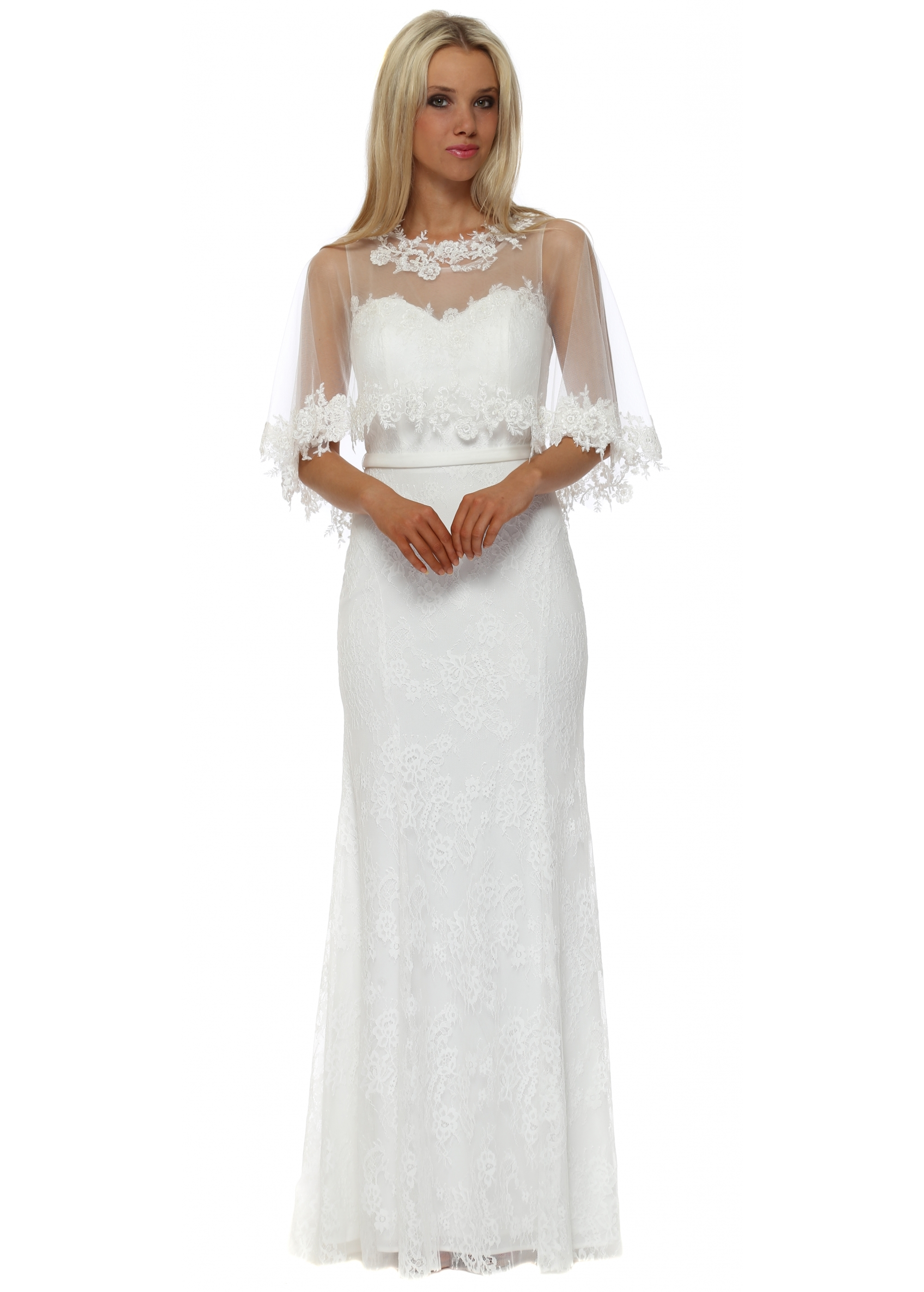 White Lace Maxi Dress With Cape