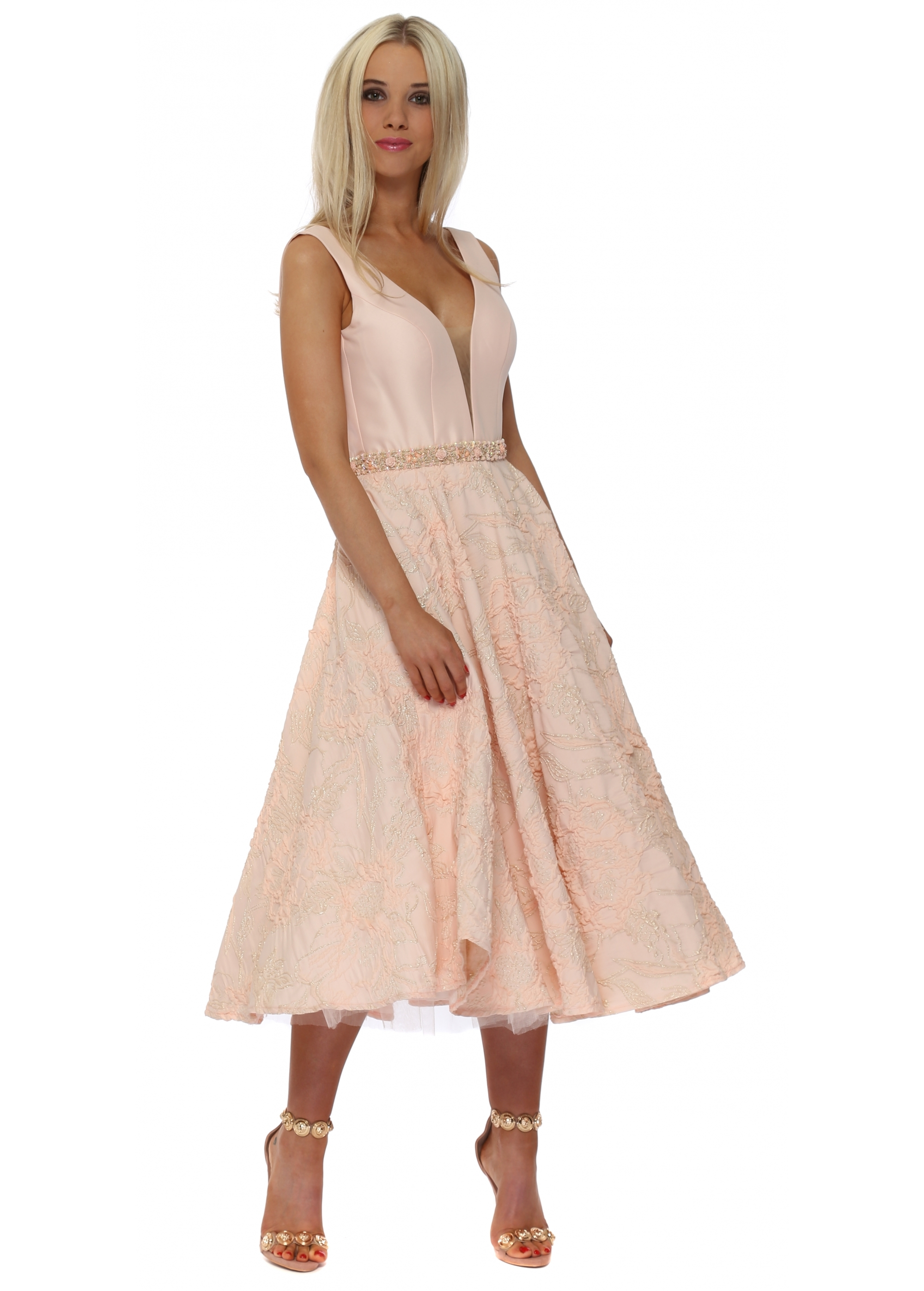 Pia Peach Pink Midi Skater Dress