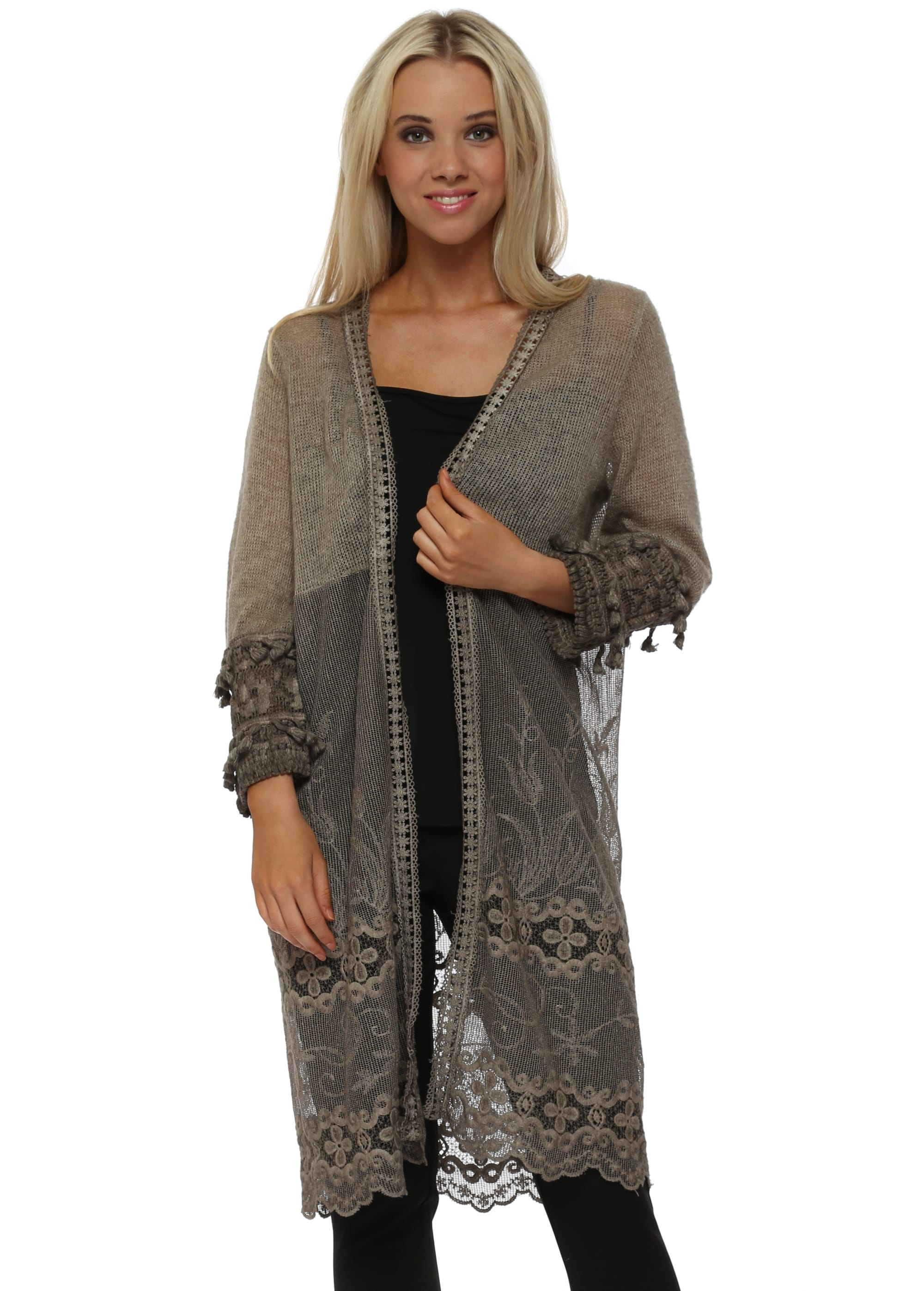 Brown Fluffy Lace Tassel Sleeve Cardigan
