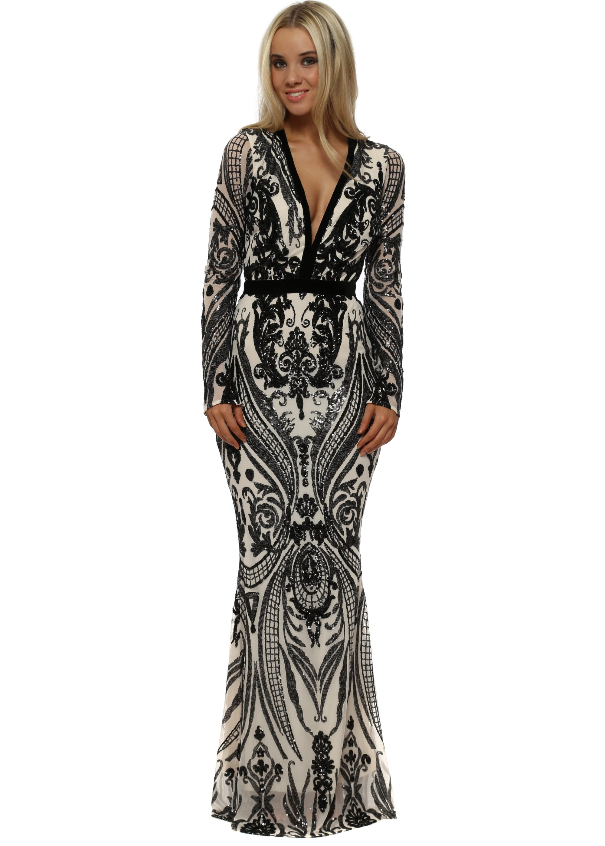 Stephanie Pratt Plunge Front Sequin Maxi Dress