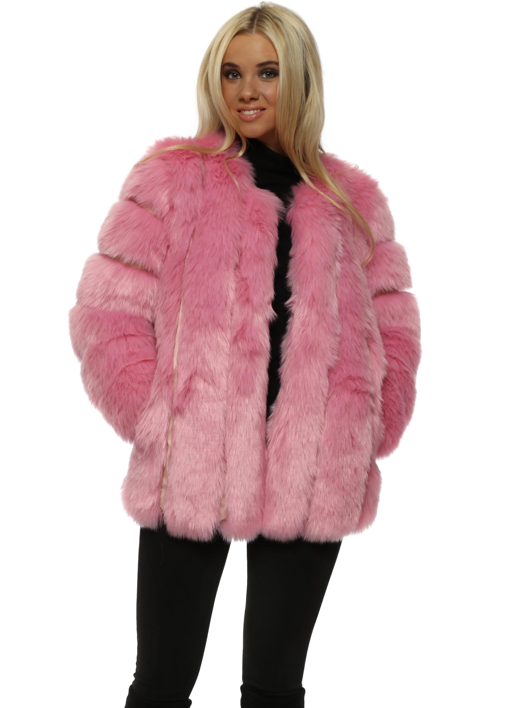 Amo Couture Baby Pink Faux Fur Coat