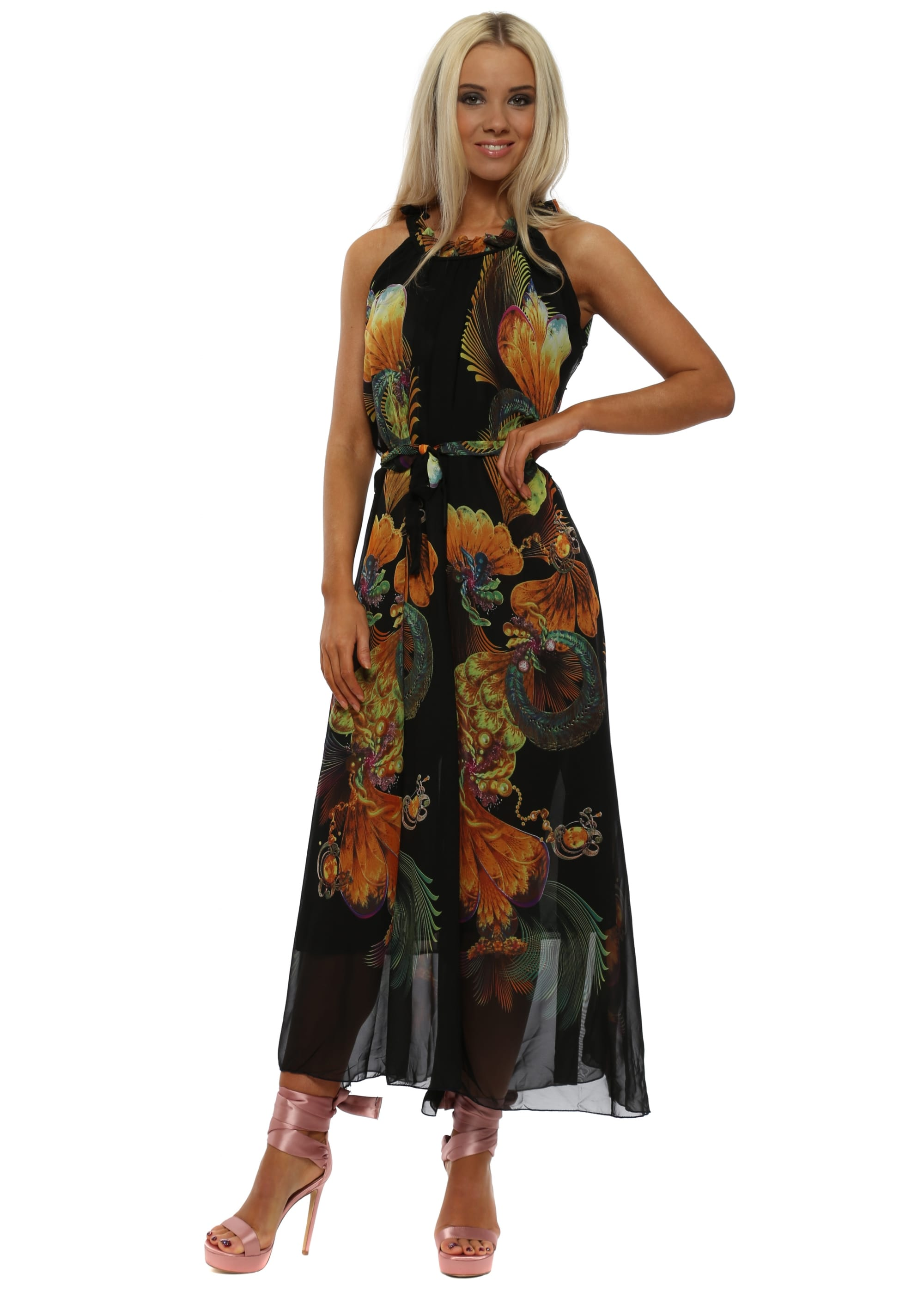 Black Halterneck Floral Print Tie Waist Maxi Dress