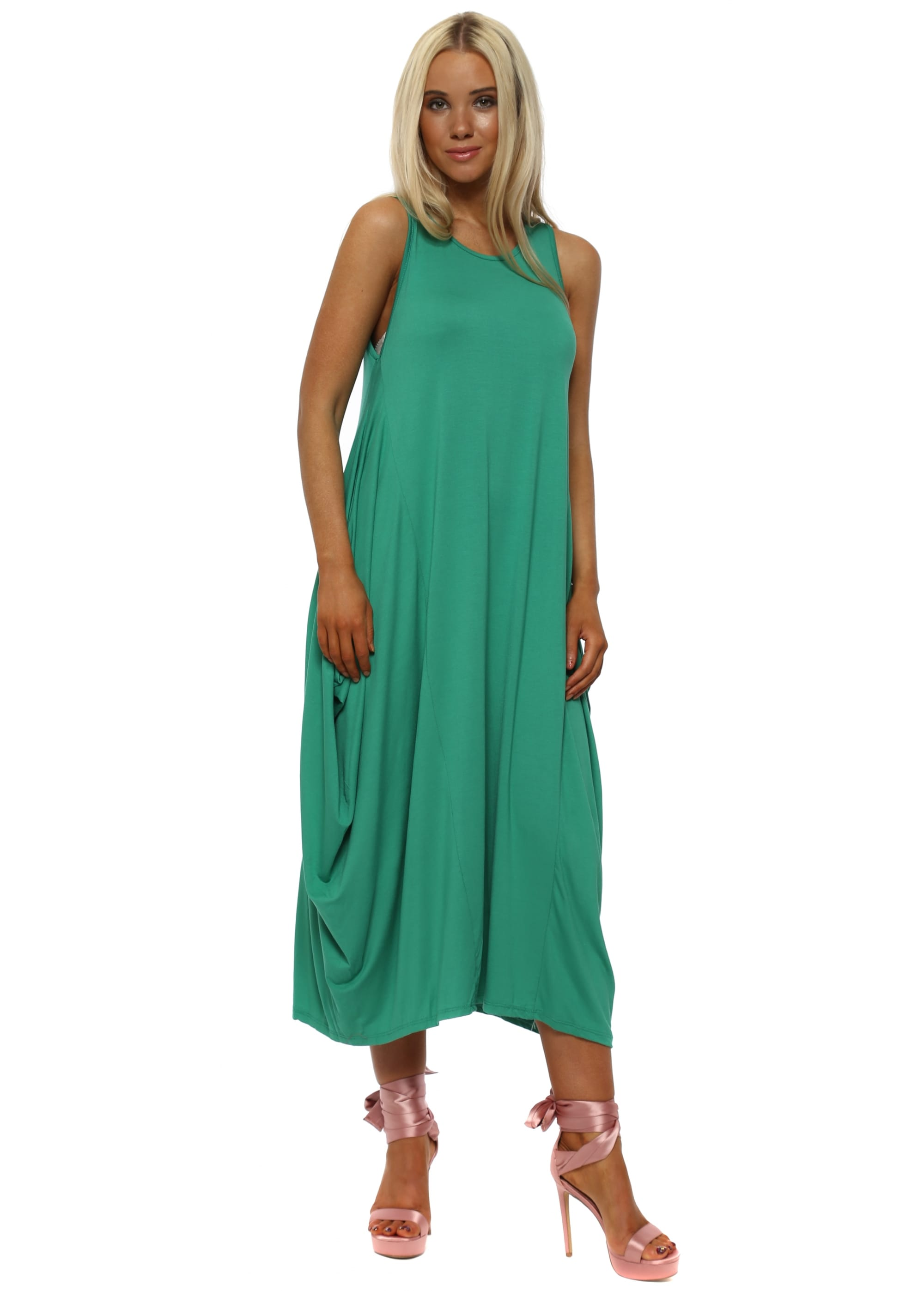 Made In Italy Green Jersey Parachute Dress