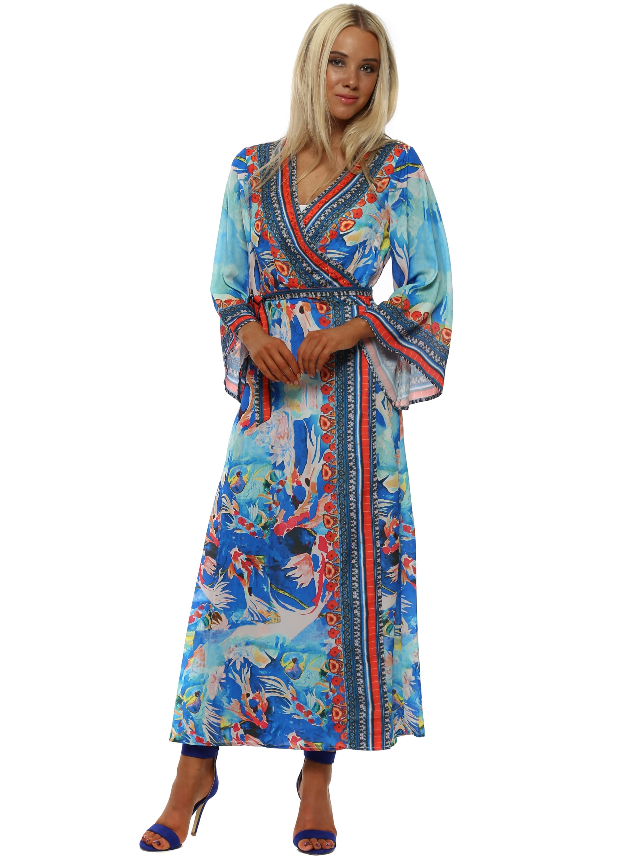Frime Blue Kimono Maxi Dress