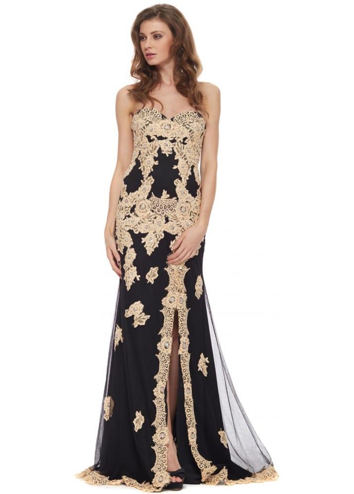 Jovani 91084 Black Nude Lace Strapless Evening Dress