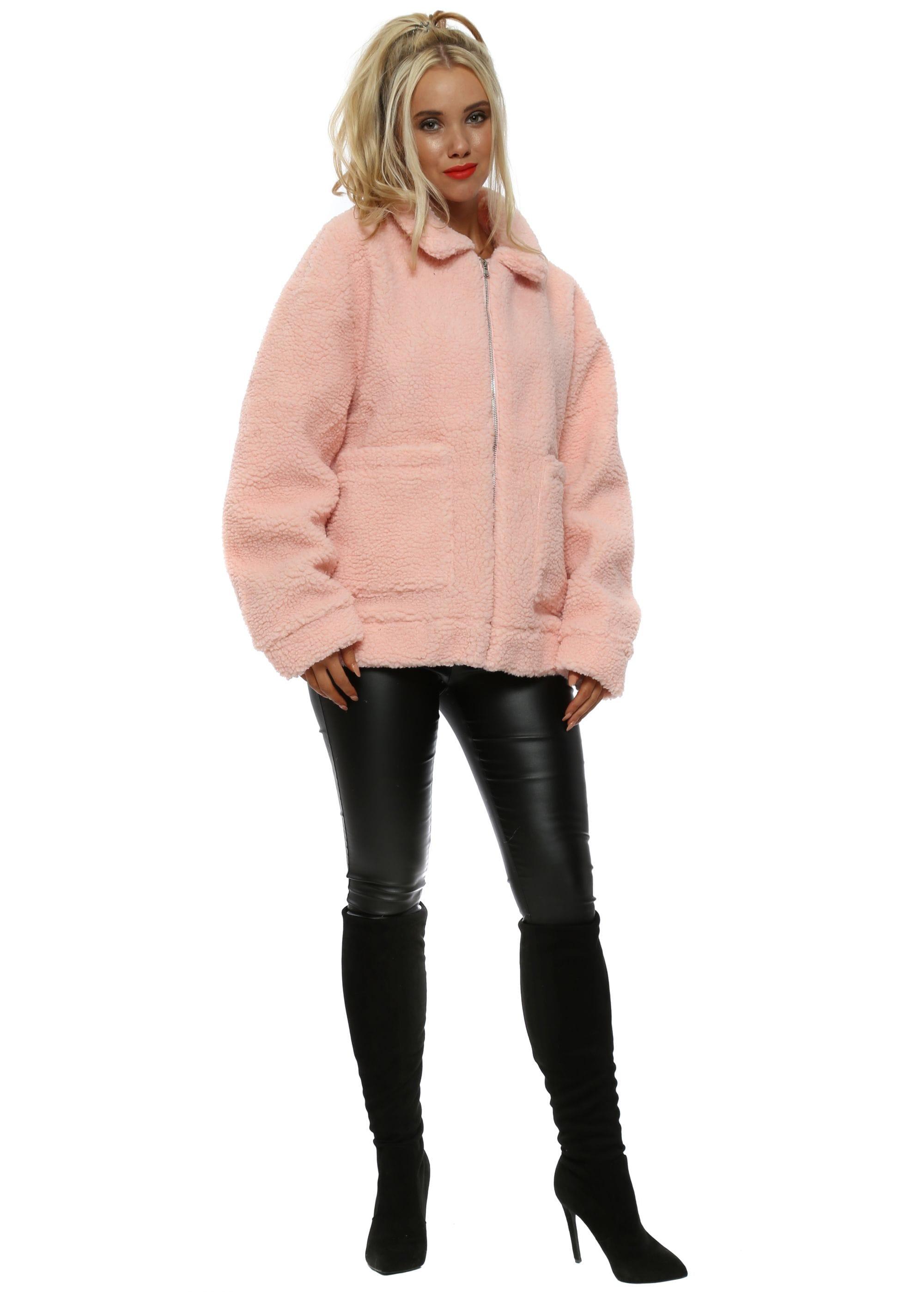 Baby Pink Oversized Teddy Bear Jacket