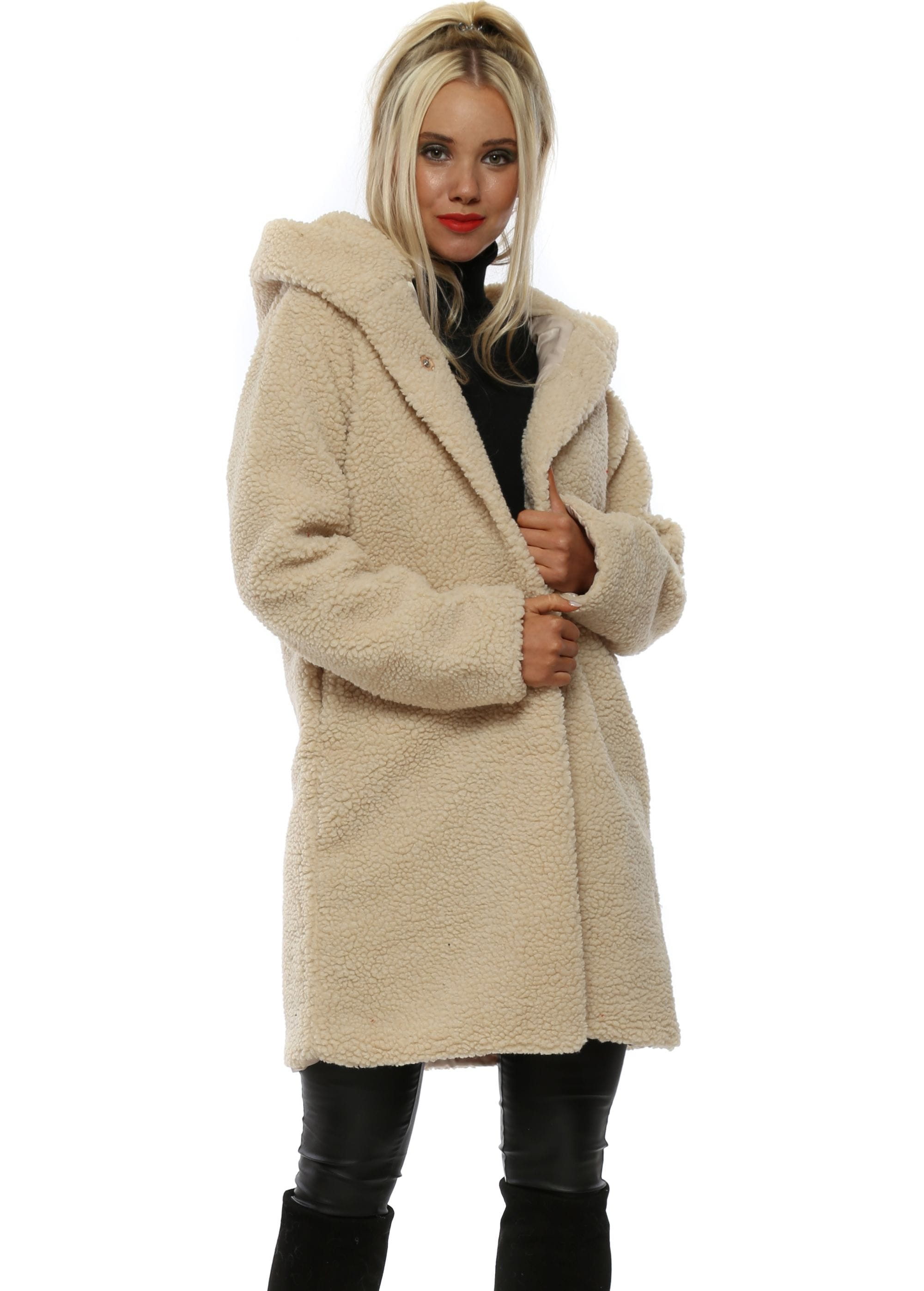 Cream Teddy Bear Hooded Coat by Angelique