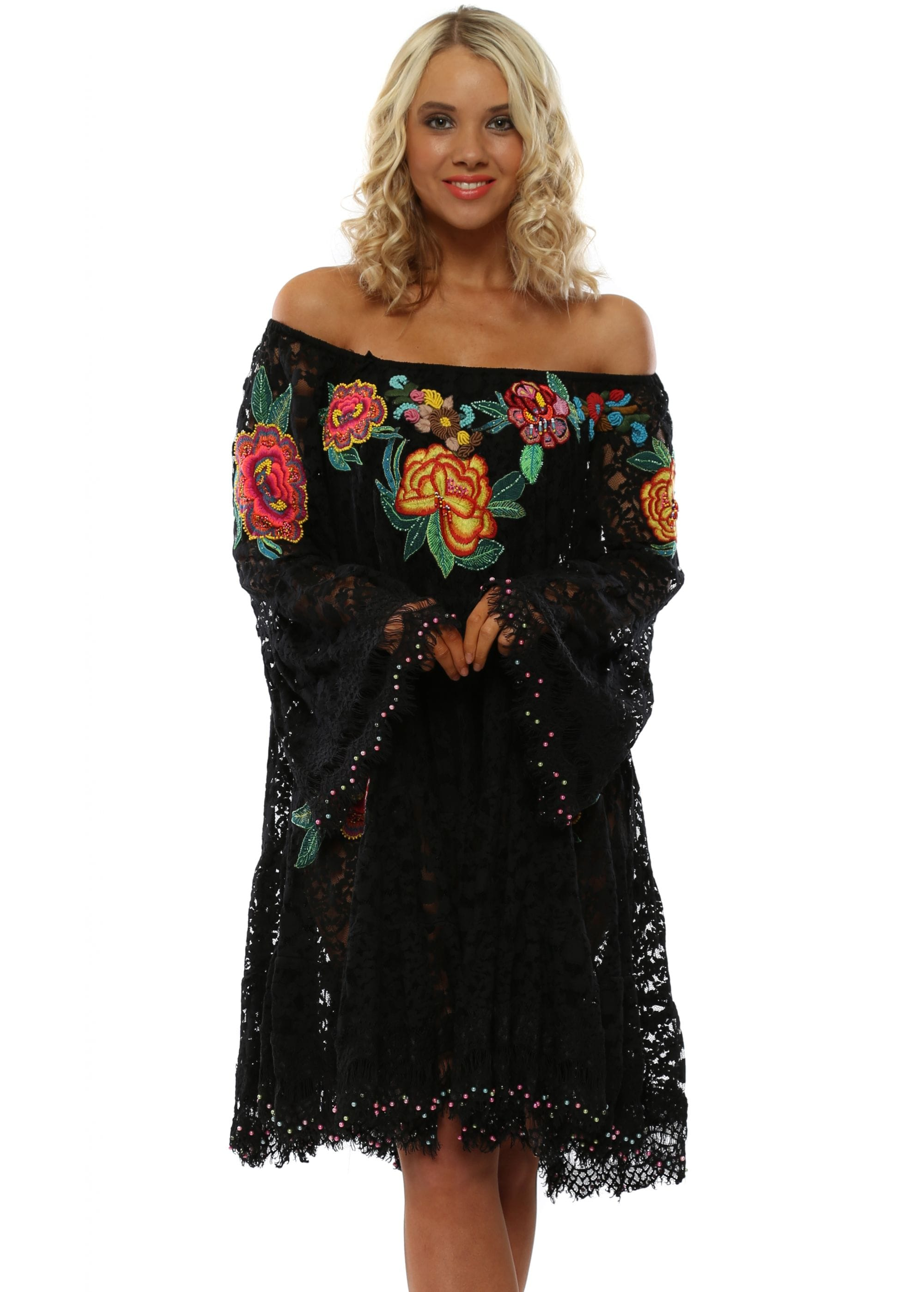 Antica Sartoria Black Lace Floral Embellished Bardot Dress