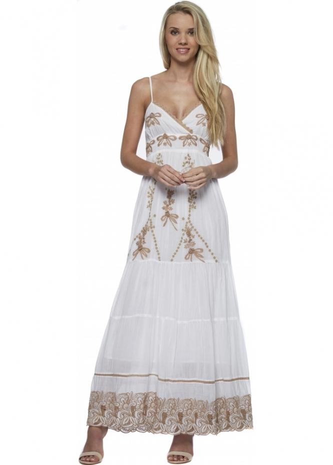 Antica Sartoria Beige Lace White Strappy Summer Maxi Dress