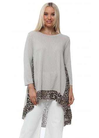 Made In Italy Beige Leopard Chiffon Back Tunic Top