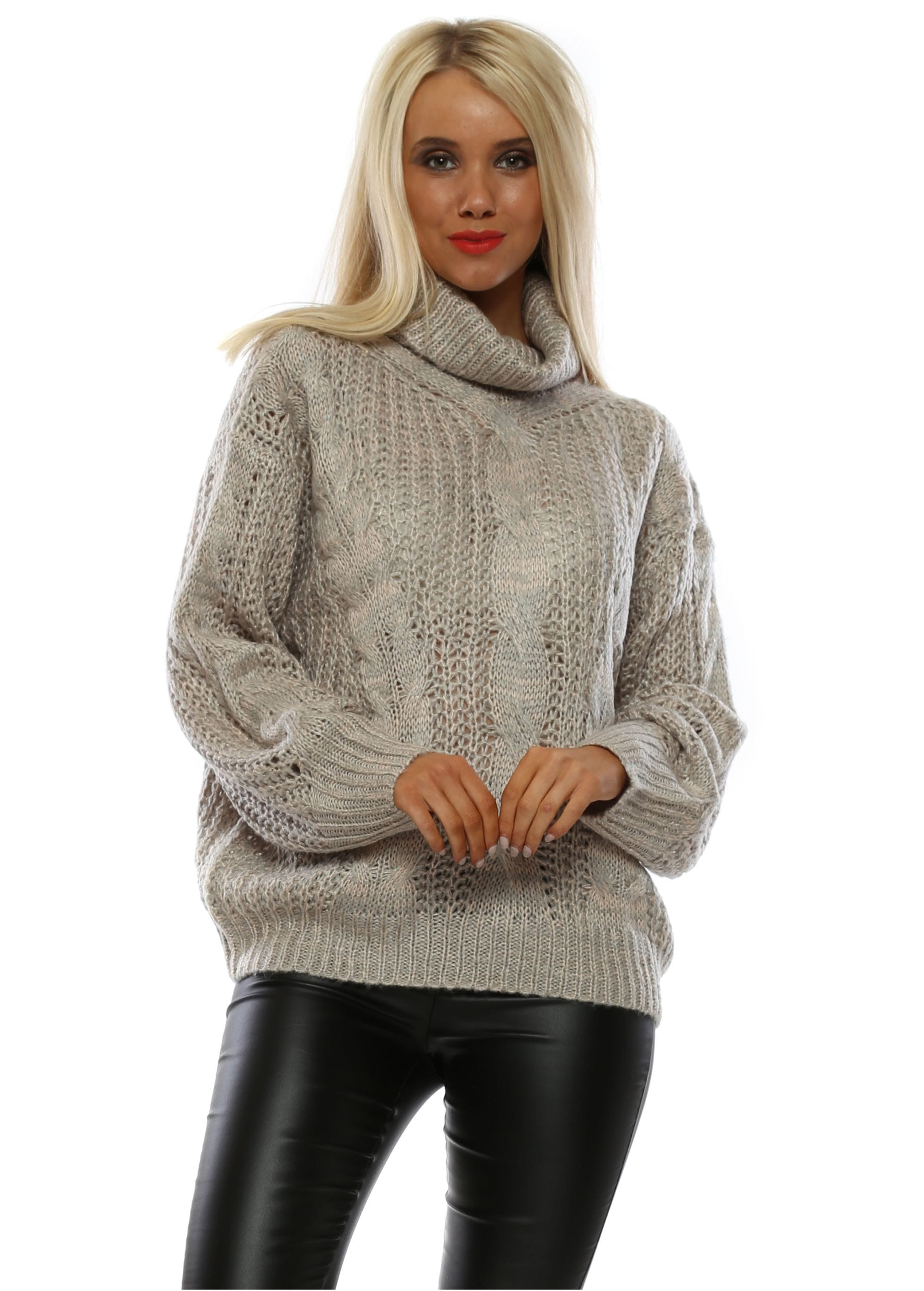 M&G Beige & Pink Cable Knit Roll Neck Jumper