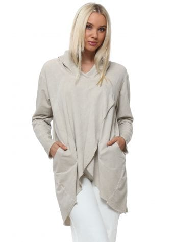 Made In Italy Beige Wrap Style Hooded Top