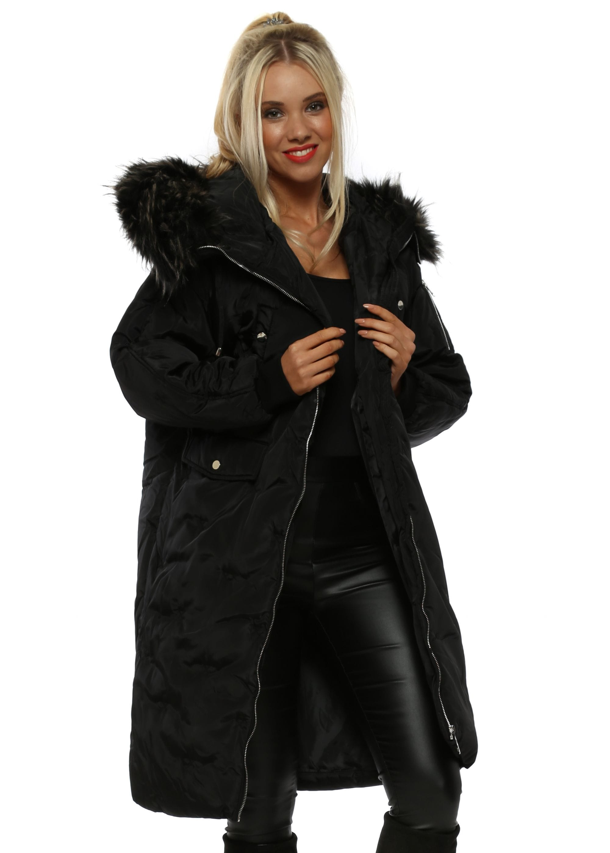 footwear so cheap order online Jayloucy Black Faux Fur Hooded Quilted Long Puffa Coat