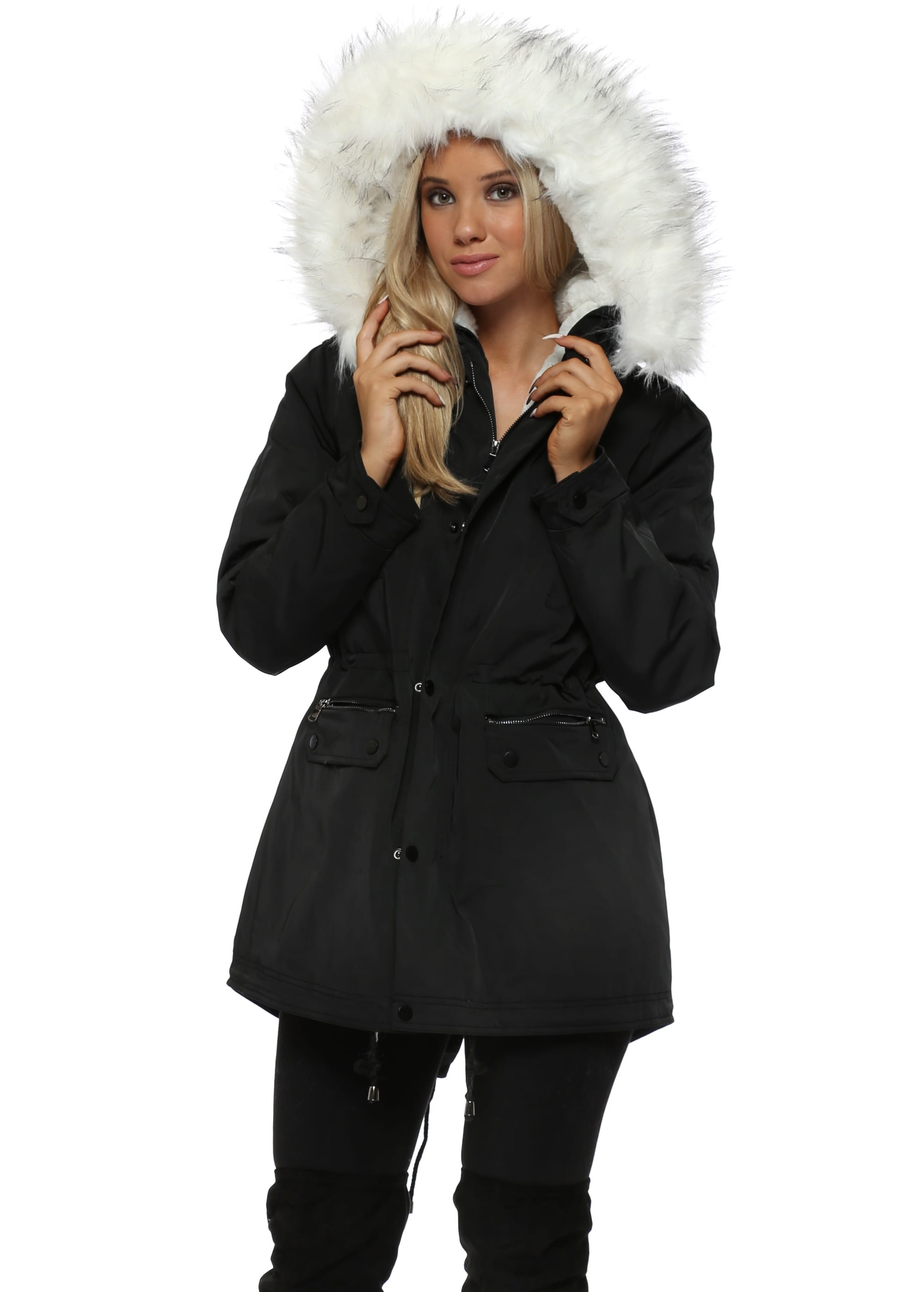 Black Parka With White Fur Hood