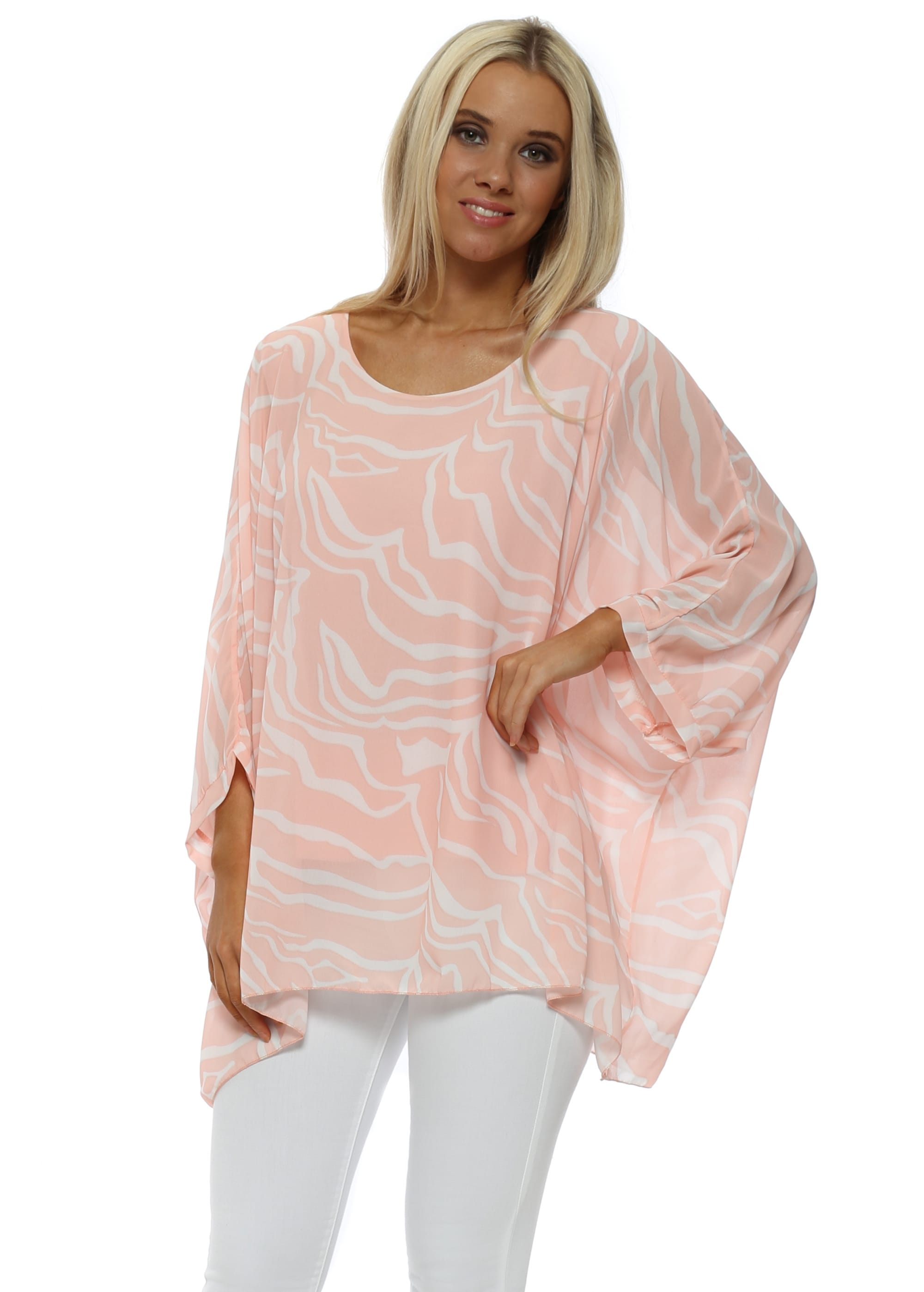 cheapest shop limited guantity Pink Zebra Print Batwing Top
