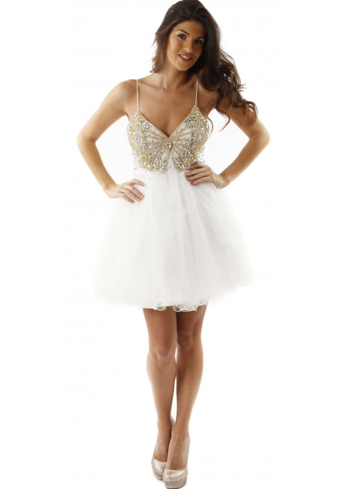 wholesale sales soft and light where can i buy Forever Unique Dress Brook White Ivory Embellished Butterfly Prom Dress
