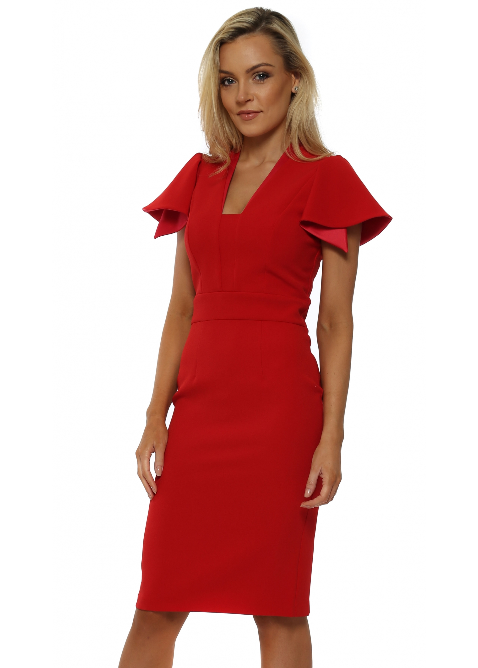 los angeles hot product newest Eden Row Red Camden Ruffle Sleeve Pencil Dress