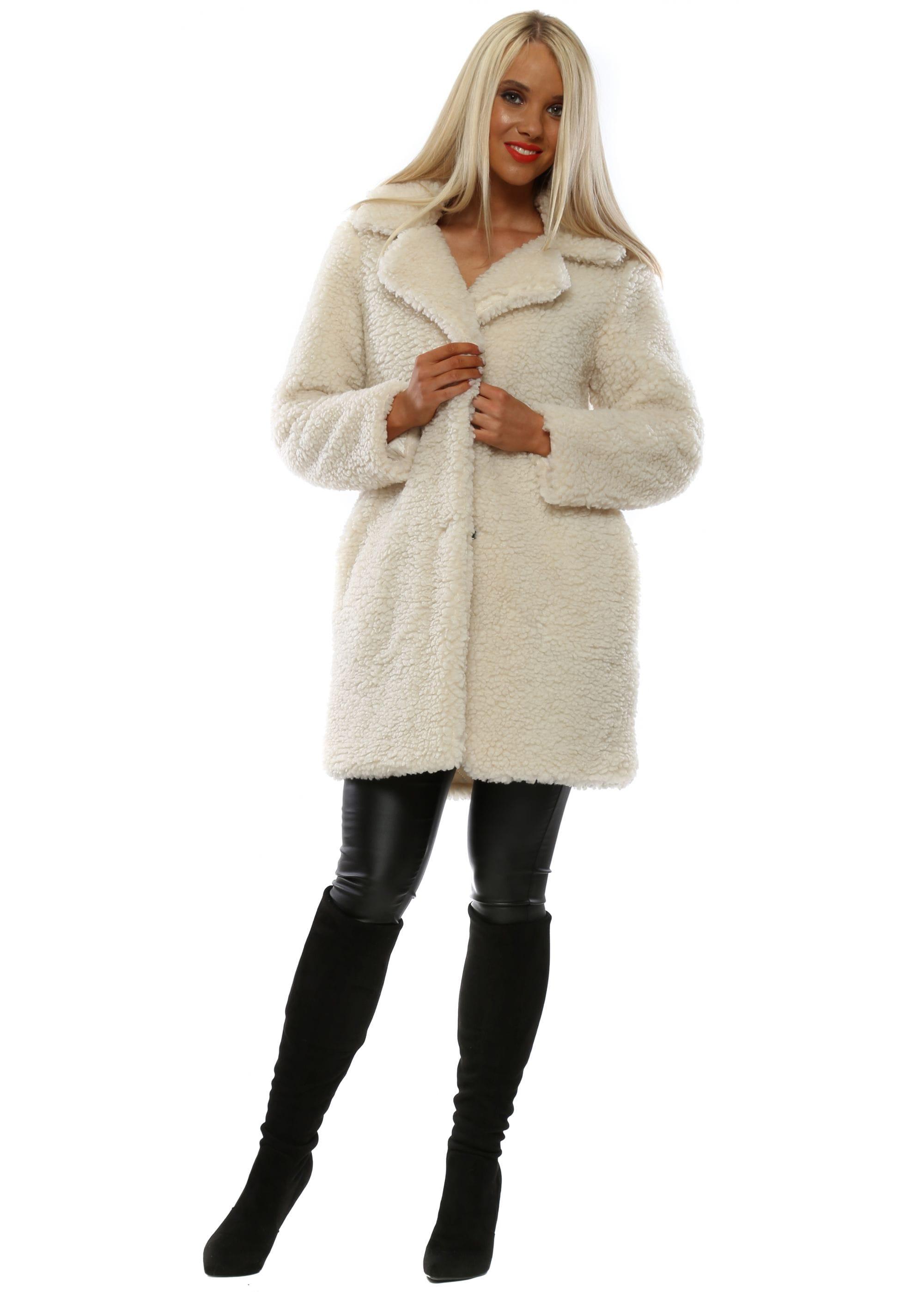 For Her Paris Cream Faux Fur Teddy Bear Coat