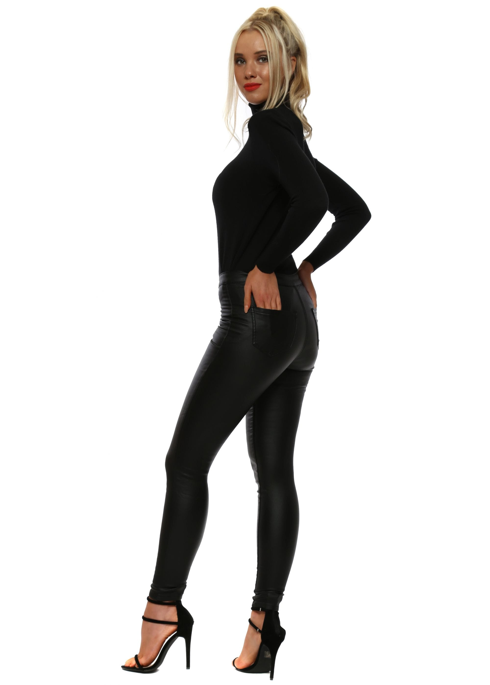 Black Wet Look Stretch Fit Skinny High Waisted Jeans