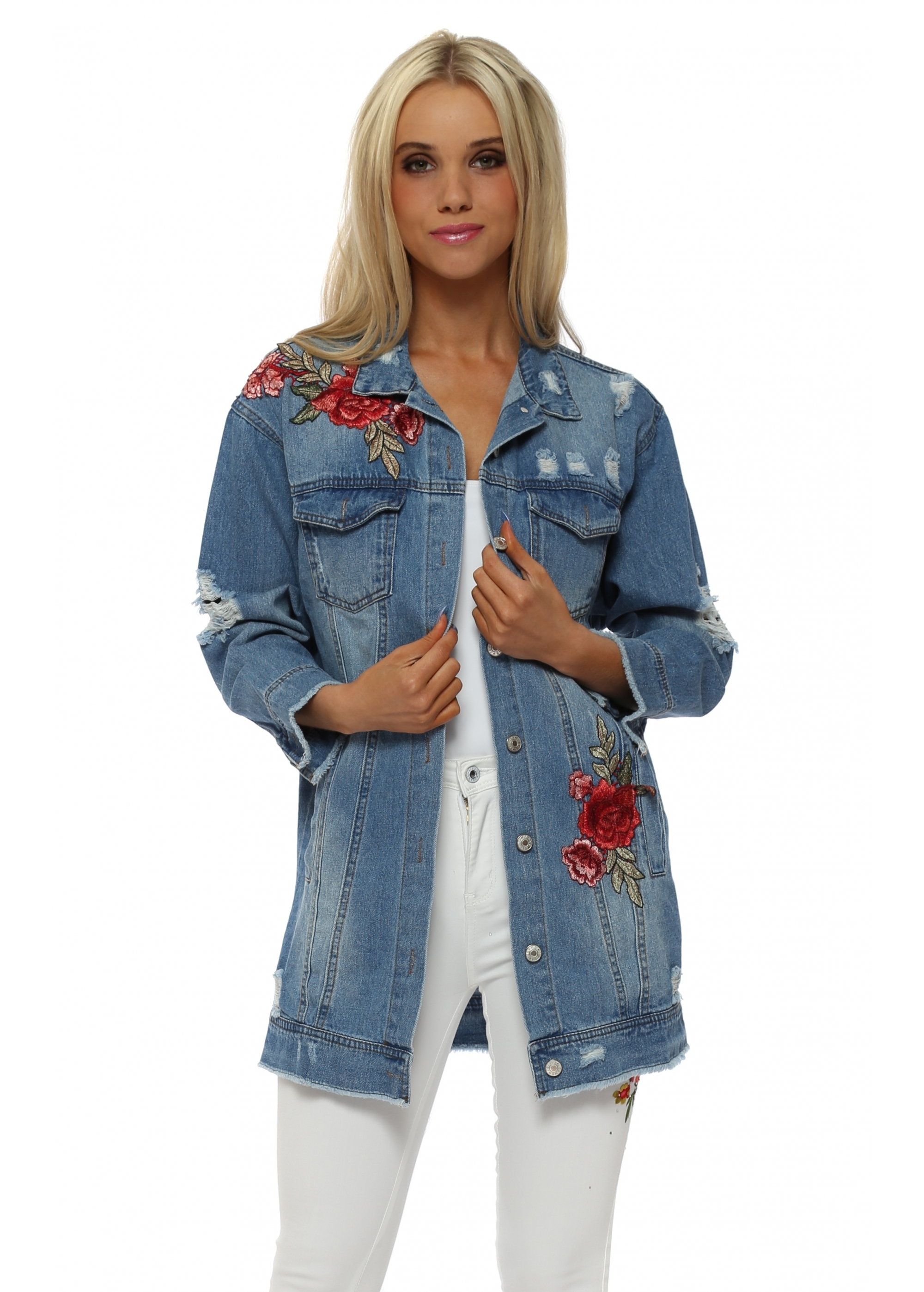 Blue Cotton Denim Jacket With Floral Embroidery