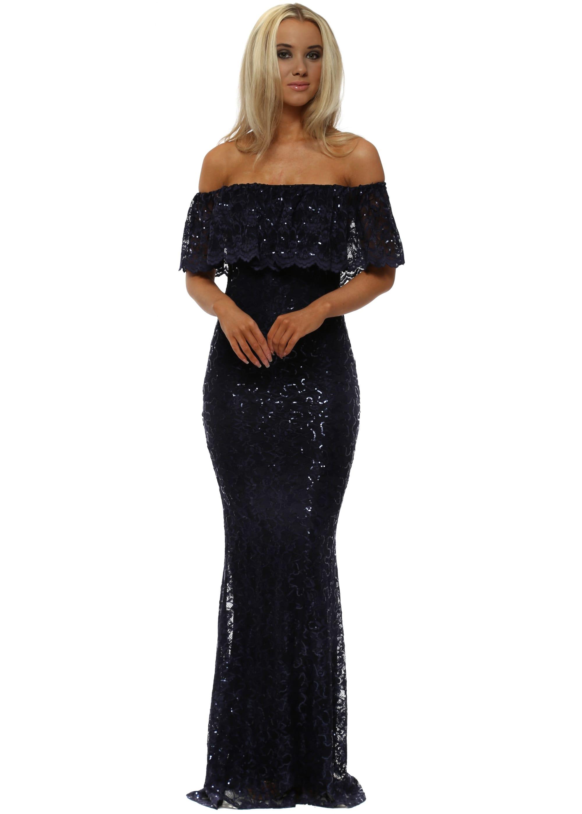 Goddess London Navy Bardot Lace Sequinnned Maxi Dress