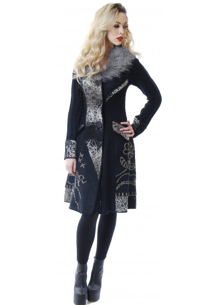 Stella Morgan Grey Embroidered Patchwork Black Knit Cardigan Coat