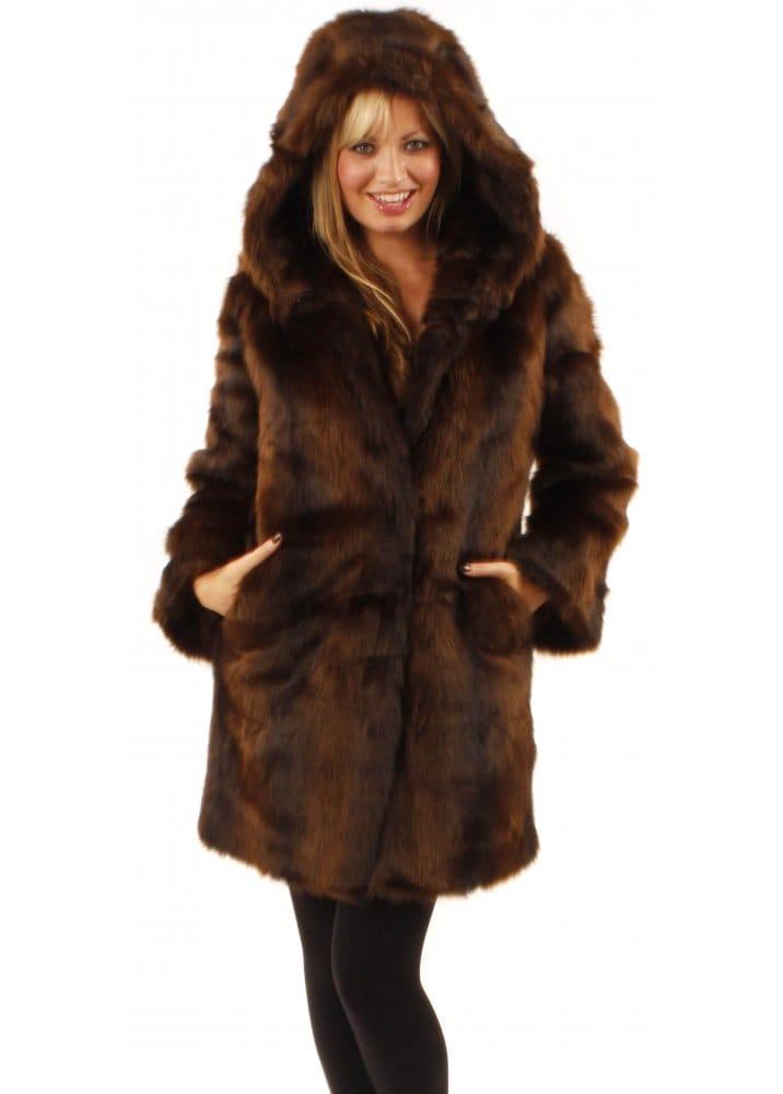 Ruby Ed Hooded Mink Faux Fur Coat, Fake Fur Coat Hood