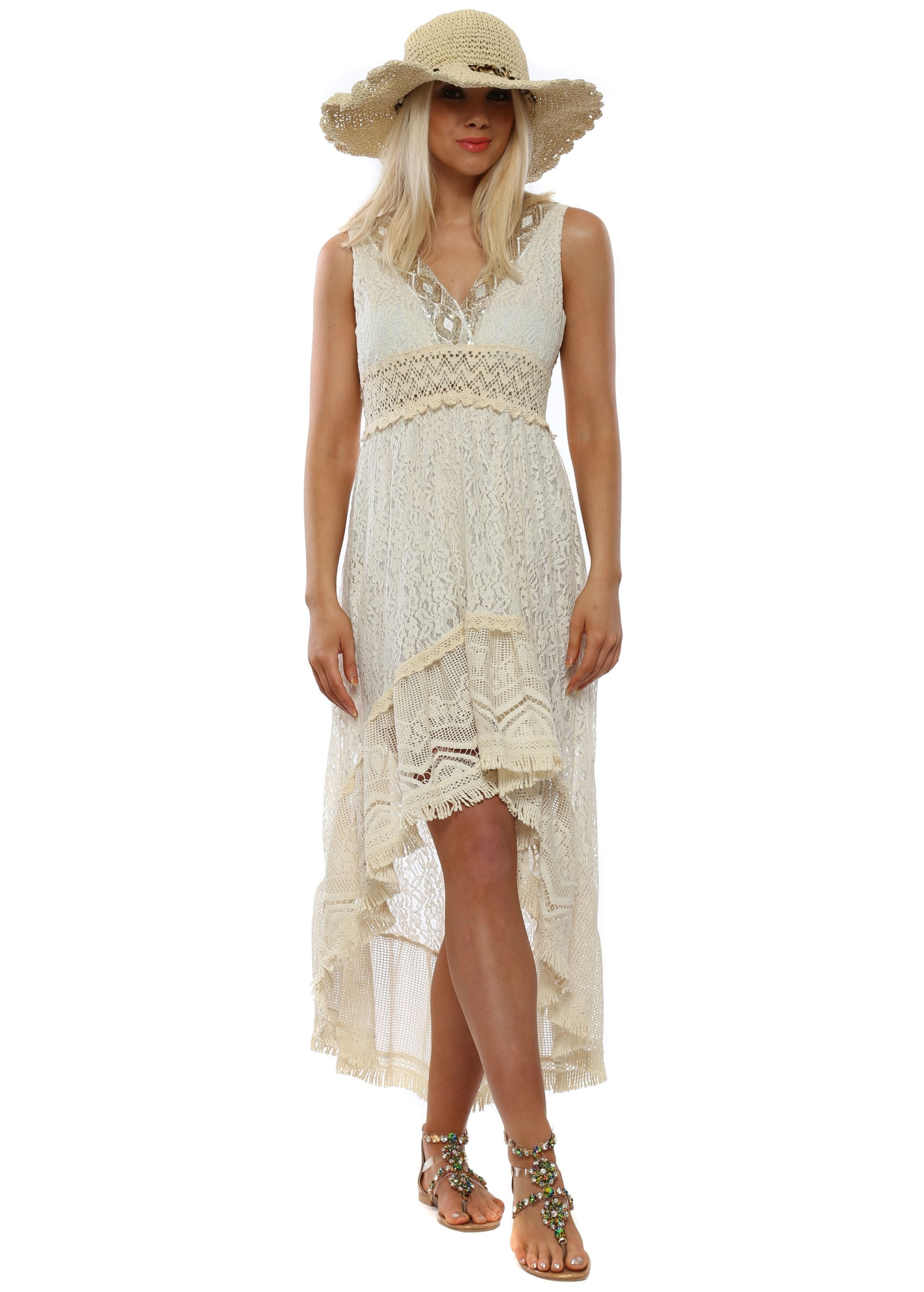 Cream Lace Embellished Hi Lo Summer Dress