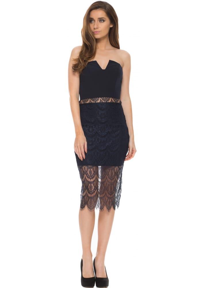 Jarlo Arabella Navy Lace Bustier Midi Dress