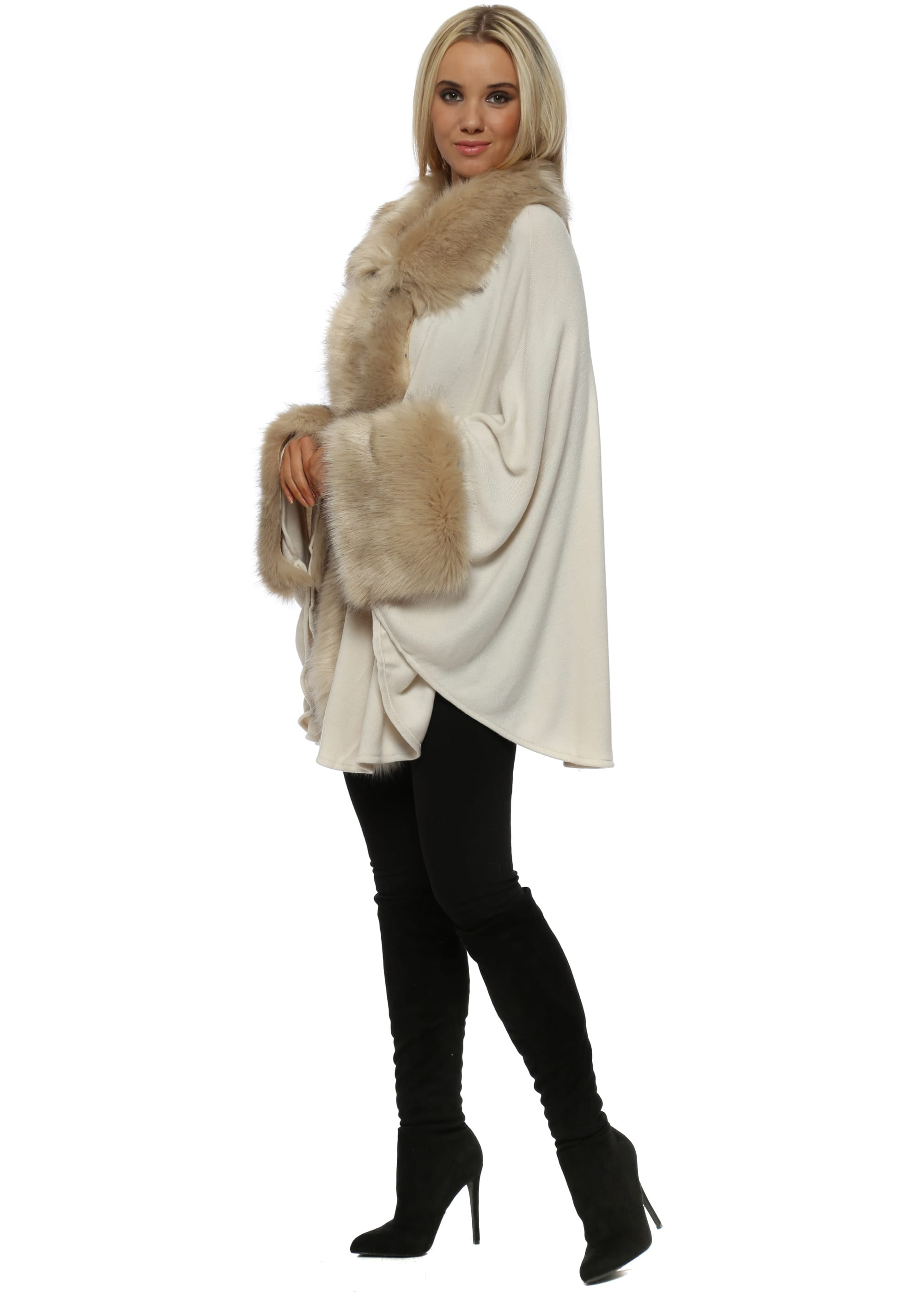 Boutique womens ivory faux fur teddy poodle luxury wrap cape one size fits all