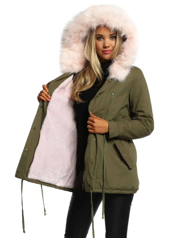 Pink Faux Fur Hooded Fully Lined Parka Coat Pink