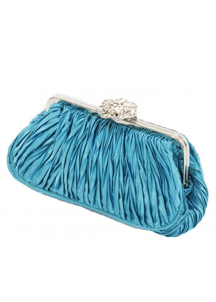 KoKo Bag Turquoise Pleated Satin With Crystal Studded Clasp Clutch Bag
