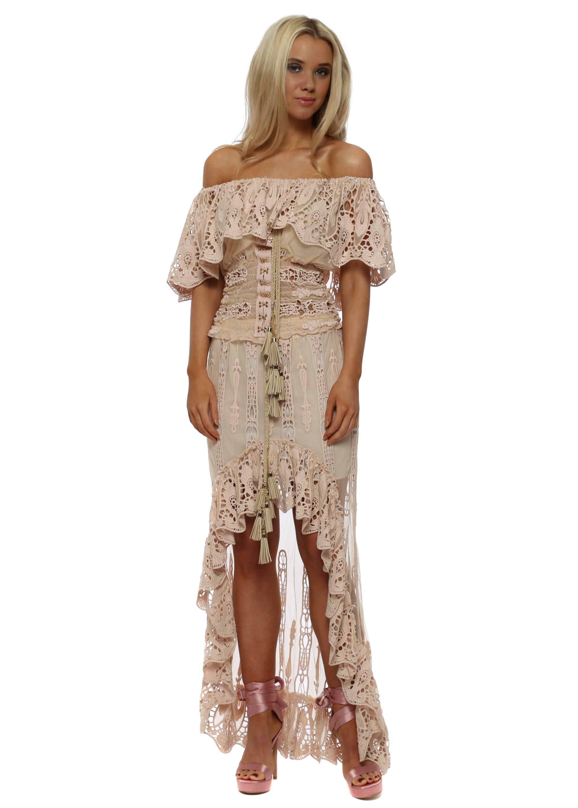 Laurie Joe Nude Pink Maxi Skirt Bardot Lace Top